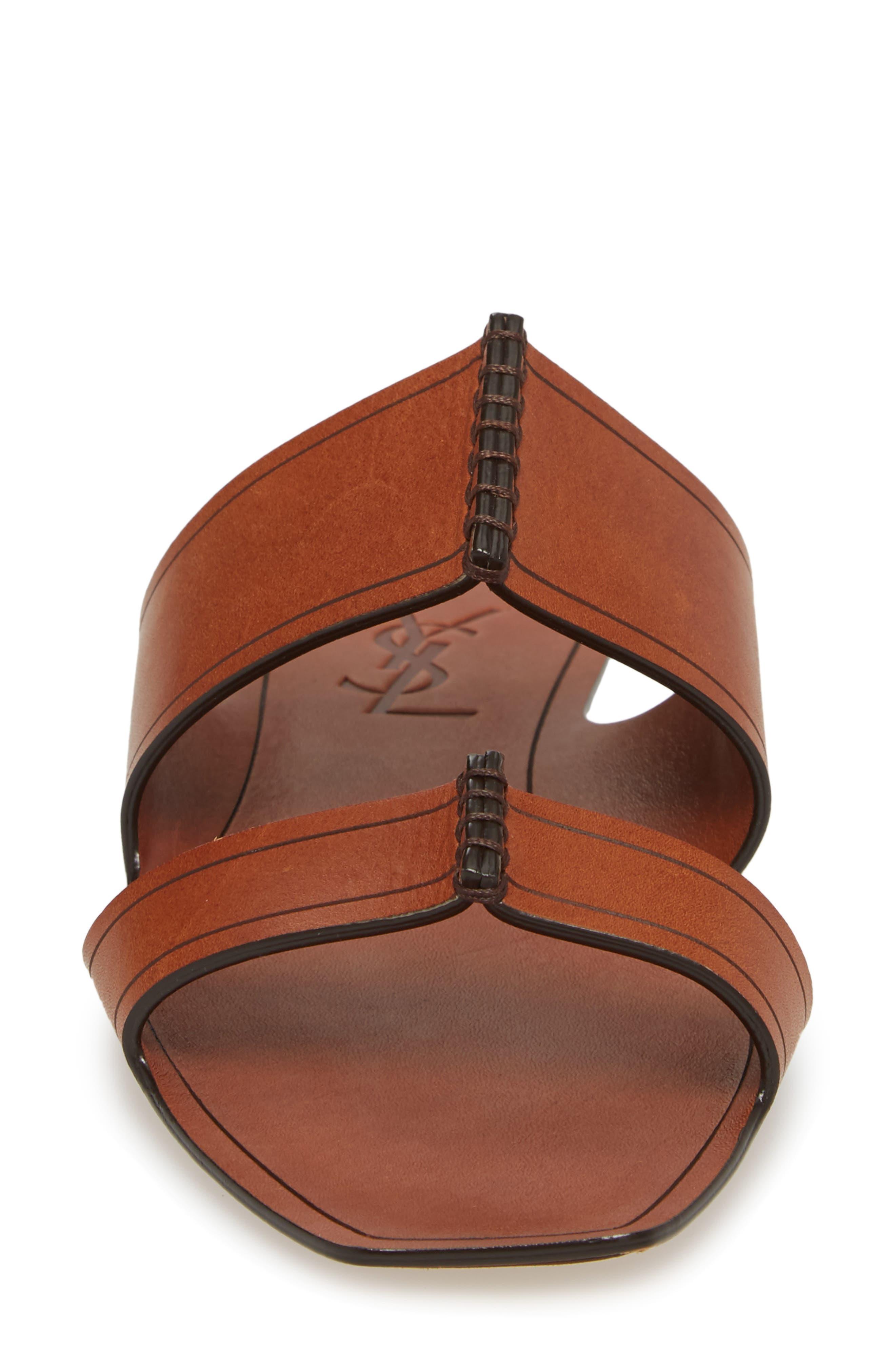 Double Band Slide Sandal,                             Alternate thumbnail 4, color,                             Caramel