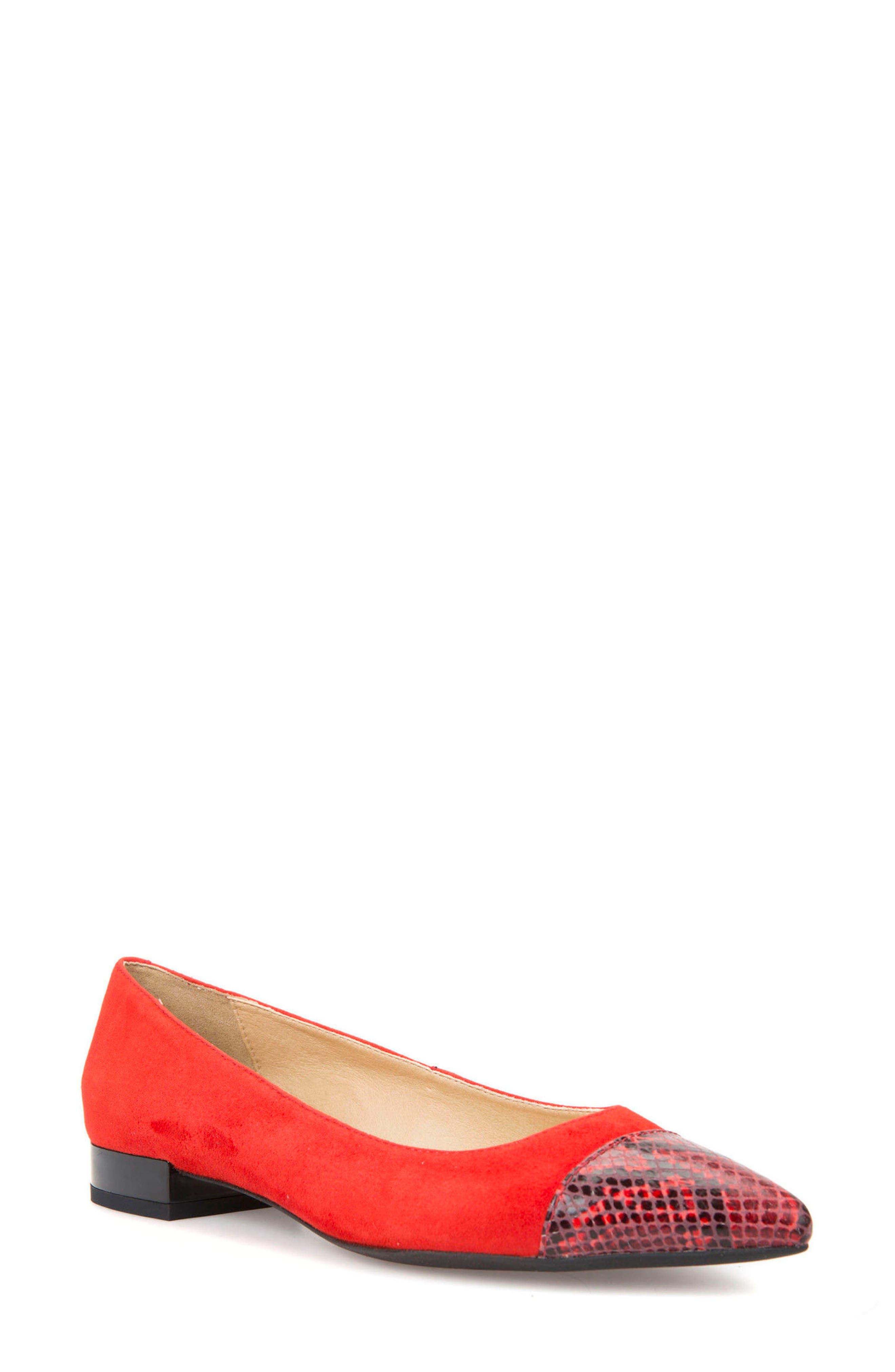 Charyssa Flat,                         Main,                         color, Scarlet Leather