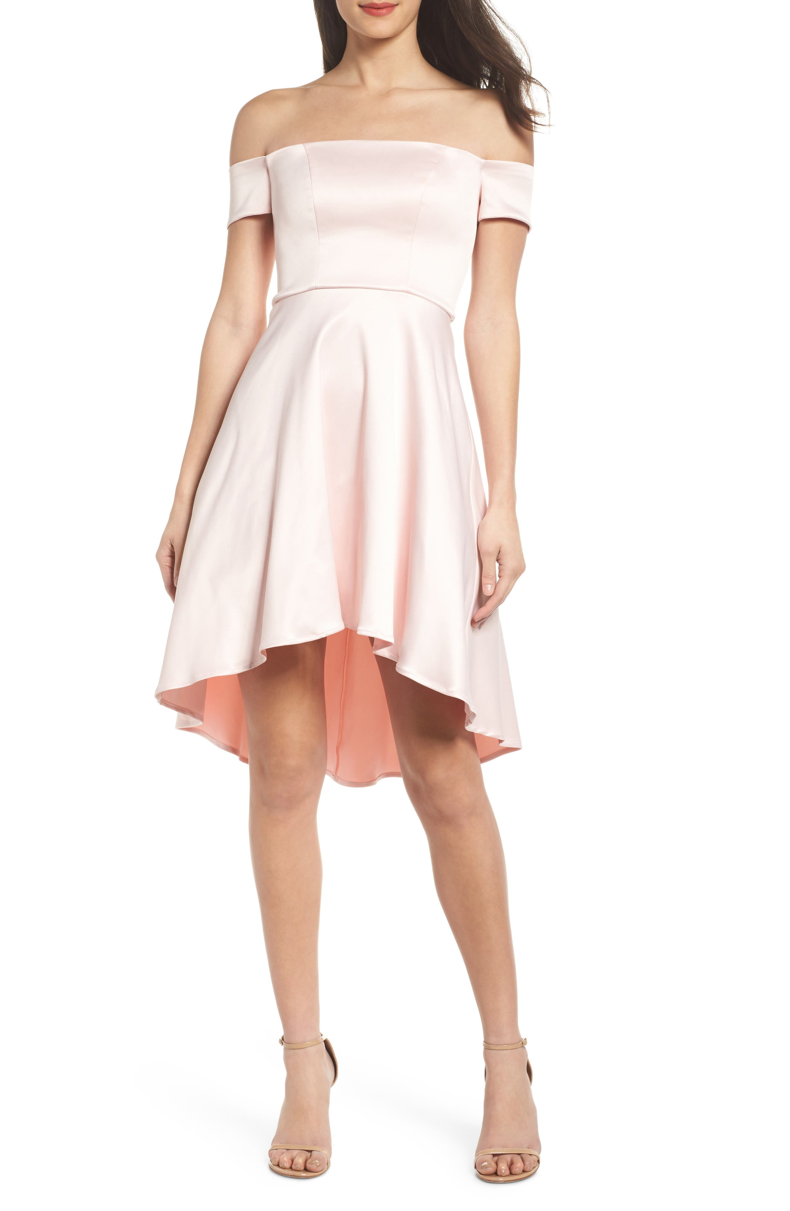 Off the Shoulder Satin Dress,                         Main,                         color, Mauve