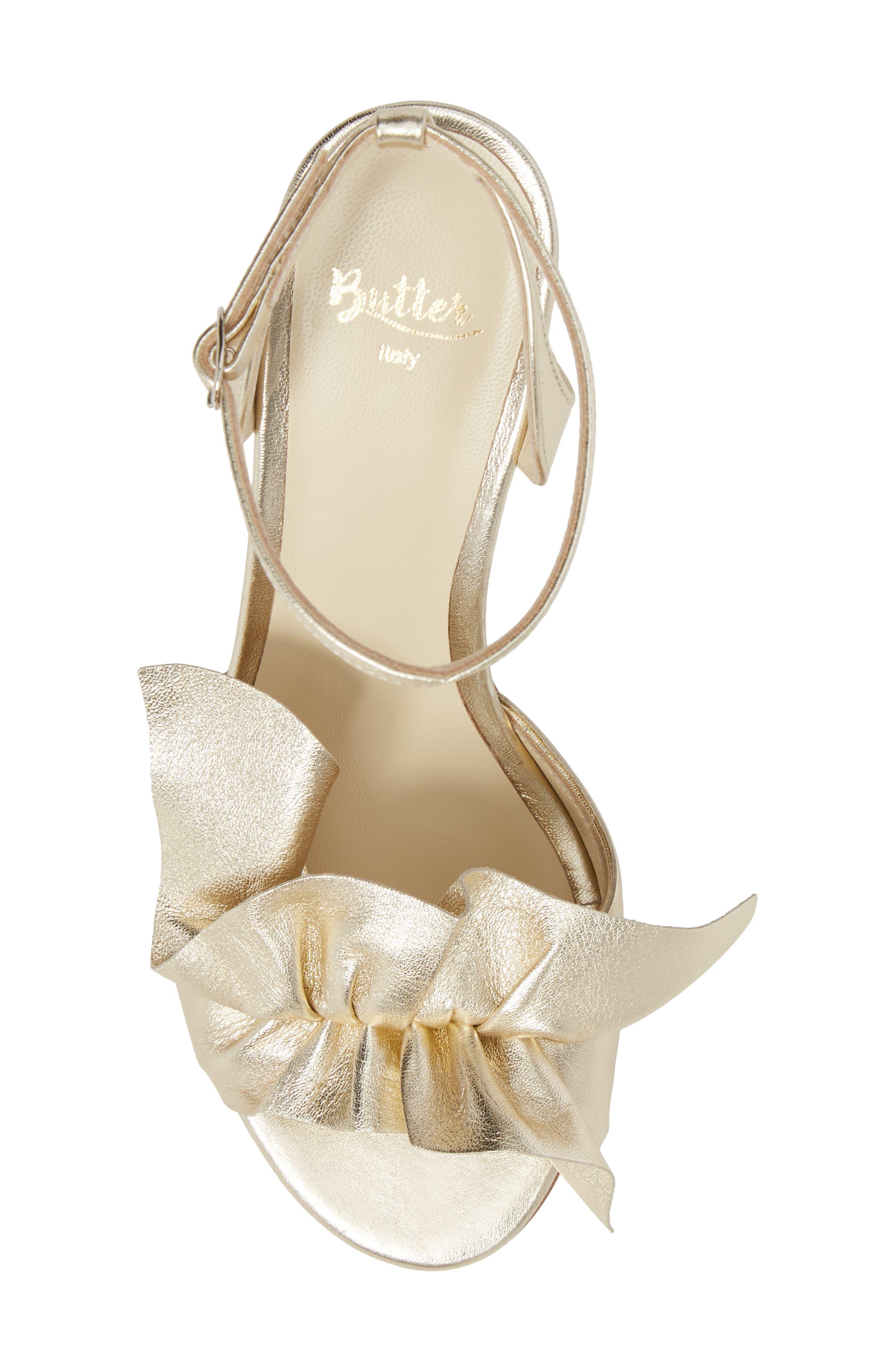 Butter Gem Embellished Ankle Strap Sandal,                             Alternate thumbnail 5, color,                             Platino Napa