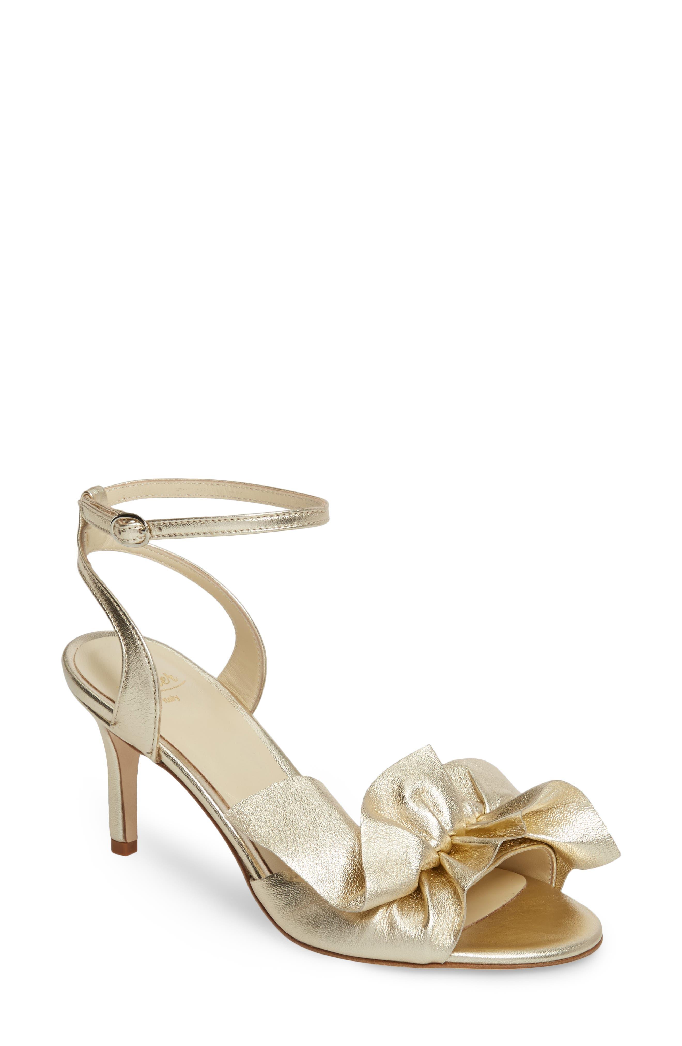 Butter Gem Embellished Ankle Strap Sandal,                         Main,                         color, Platino Napa