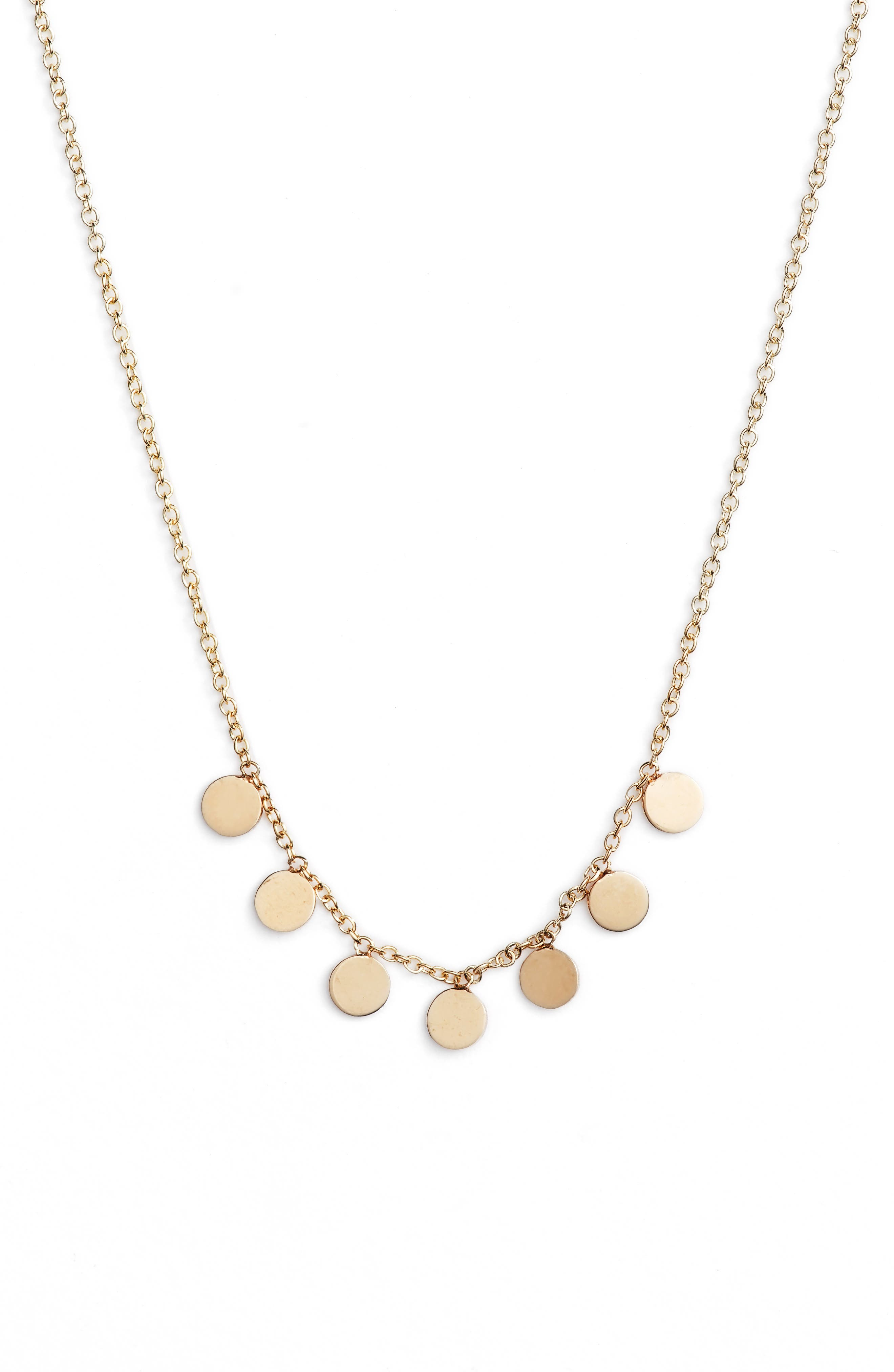 Itty Bitty Dangle Disc Necklace,                             Main thumbnail 1, color,                             Yellow Gold