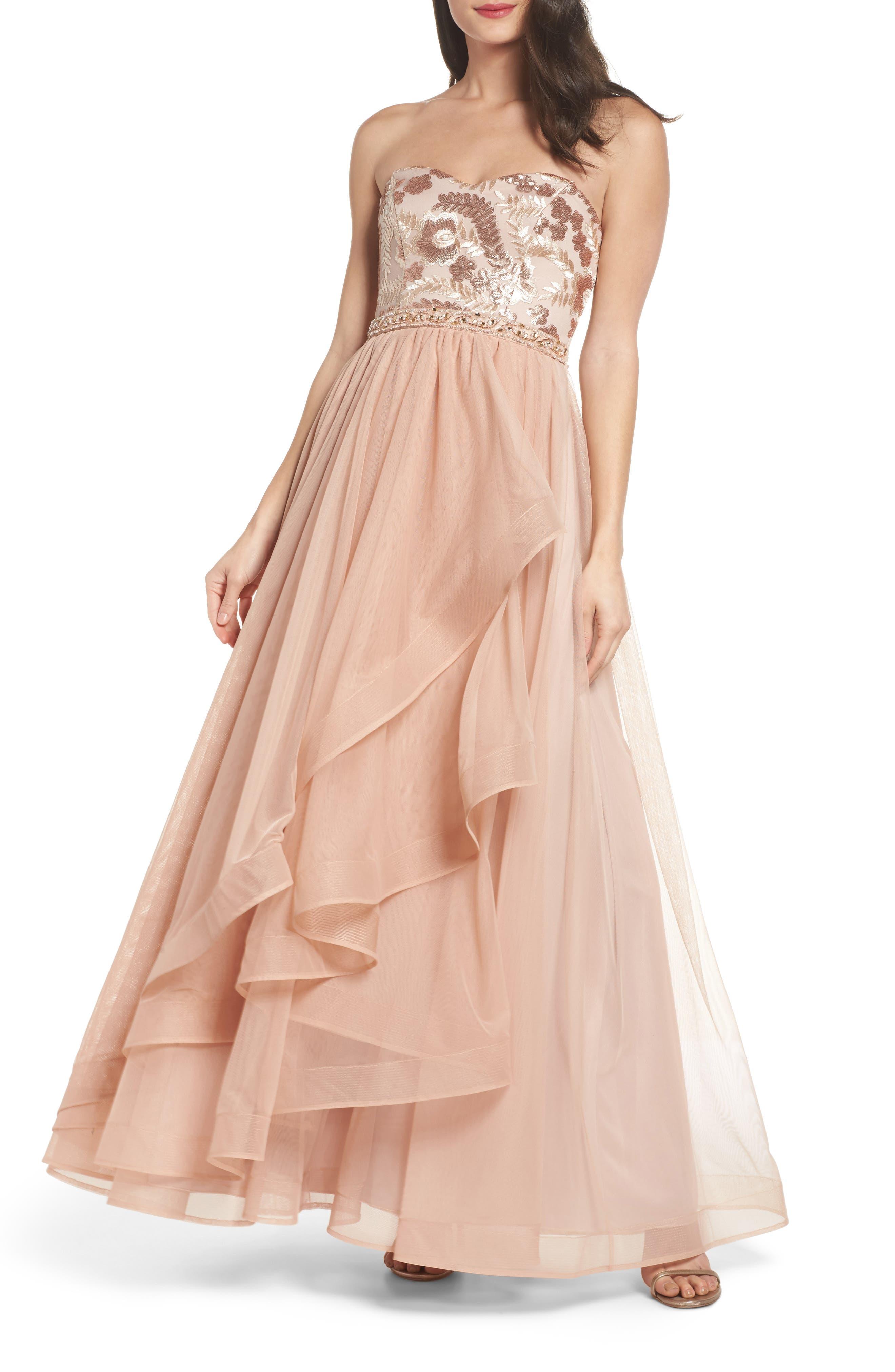 Sequin Hearts Strapless Sequin Bodice Ballgown