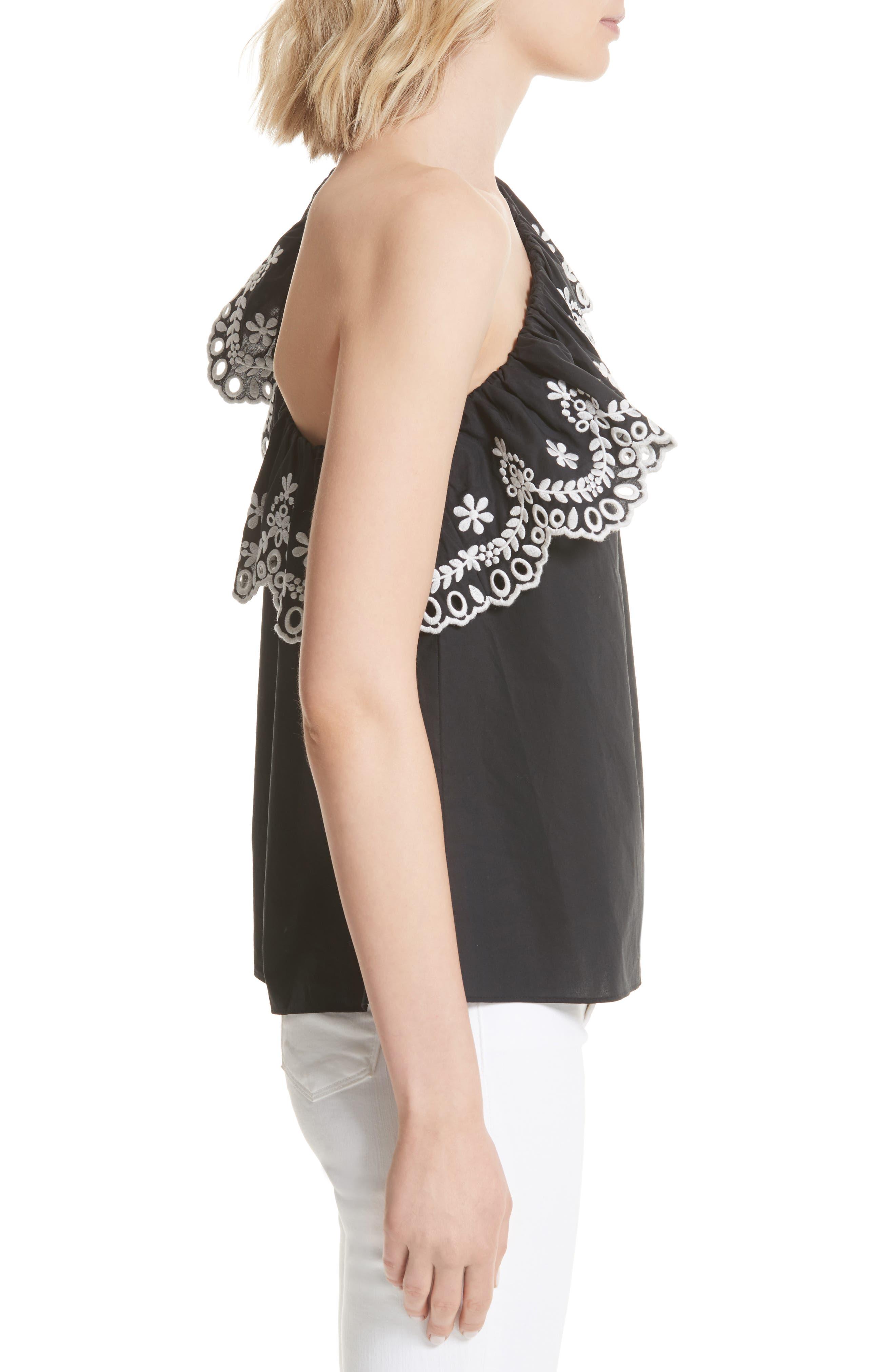 one-shoulder cutwork top,                             Alternate thumbnail 3, color,                             Black