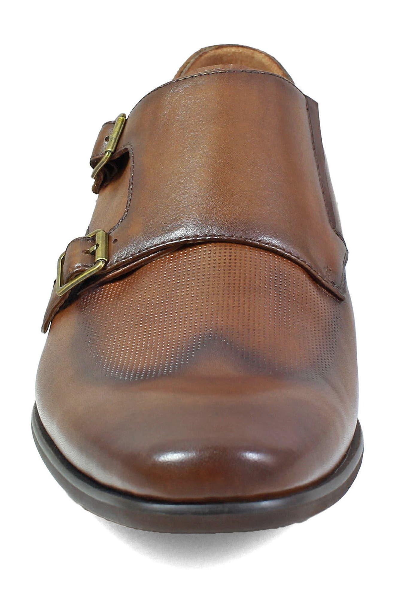 Postino Textured Double Strap Monk Shoe,                             Alternate thumbnail 4, color,                             Cognac Leather