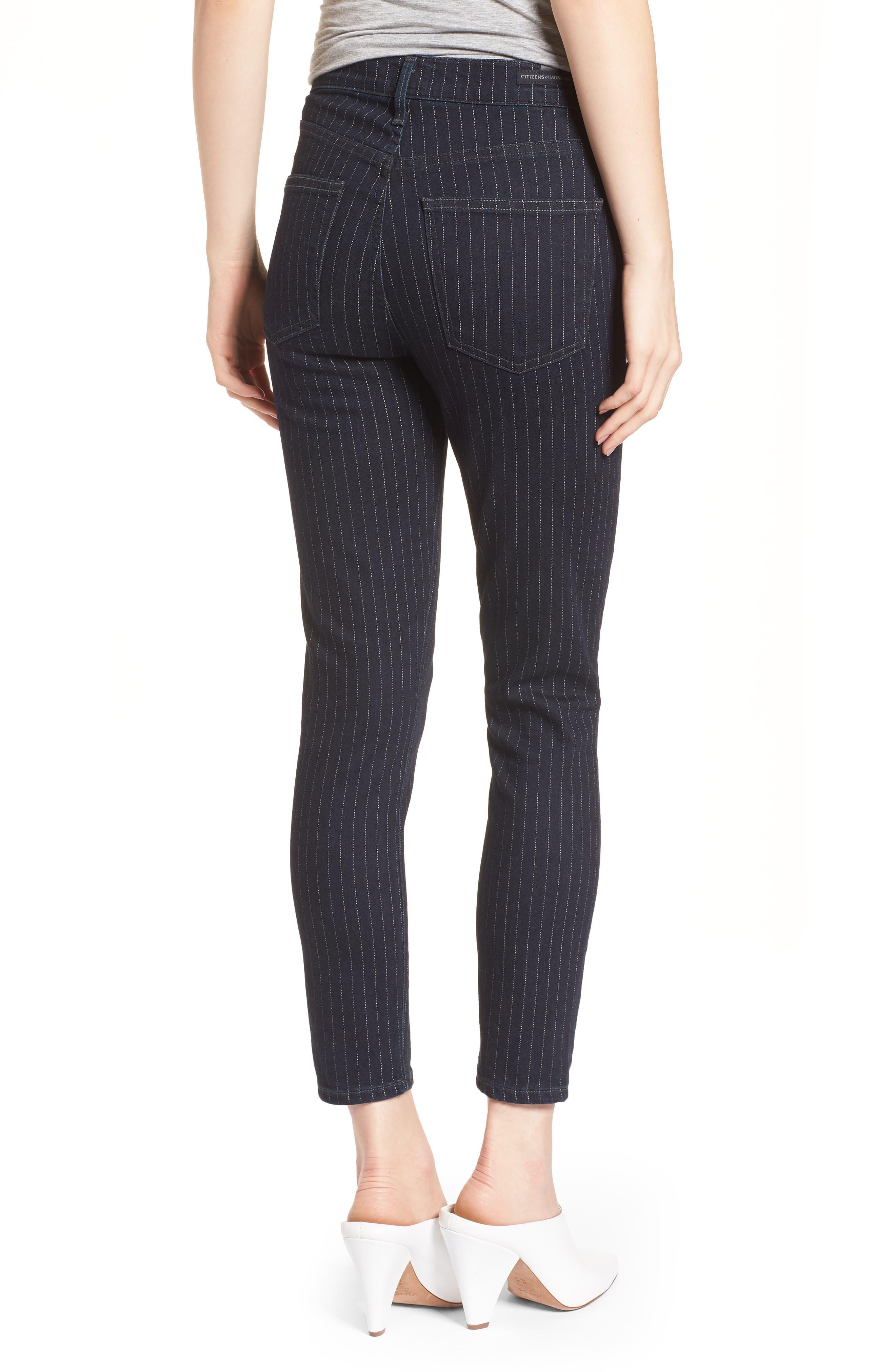 Rocket High Waist Crop Skinny Jeans,                             Alternate thumbnail 2, color,                             Pinstripe
