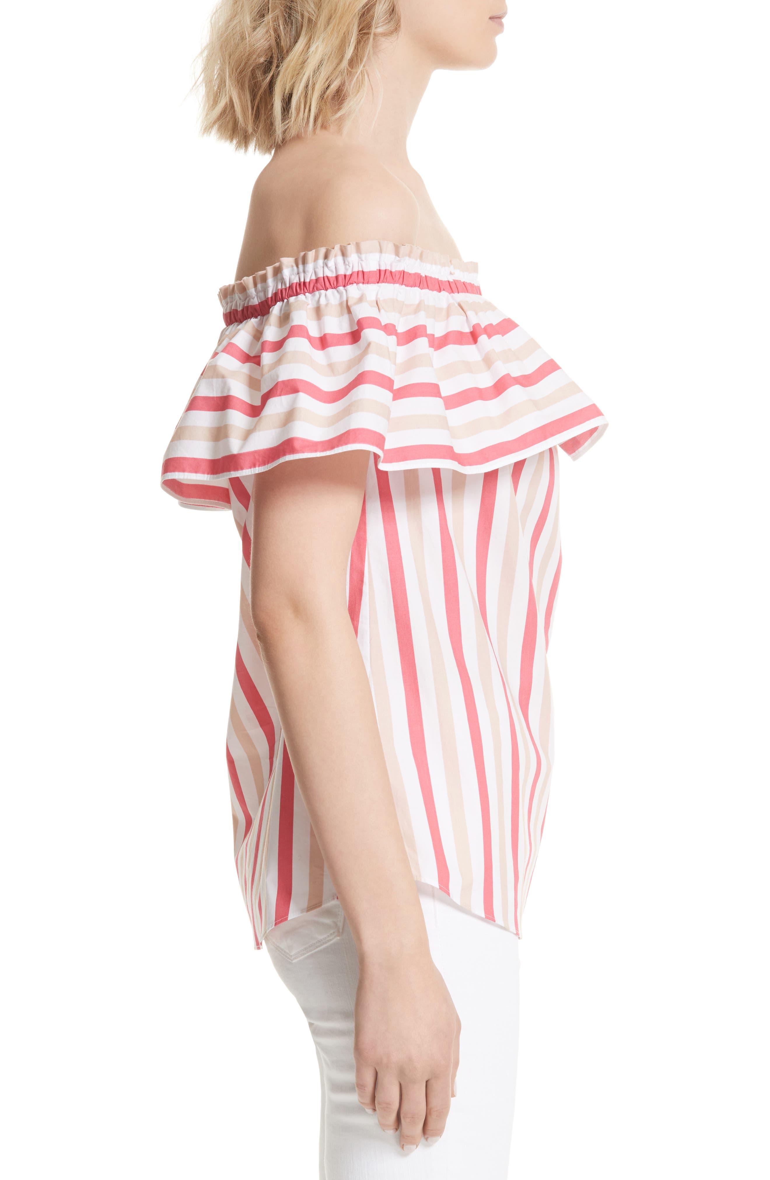 off the shoulder stripe top,                             Alternate thumbnail 3, color,                             Peach Sherbet