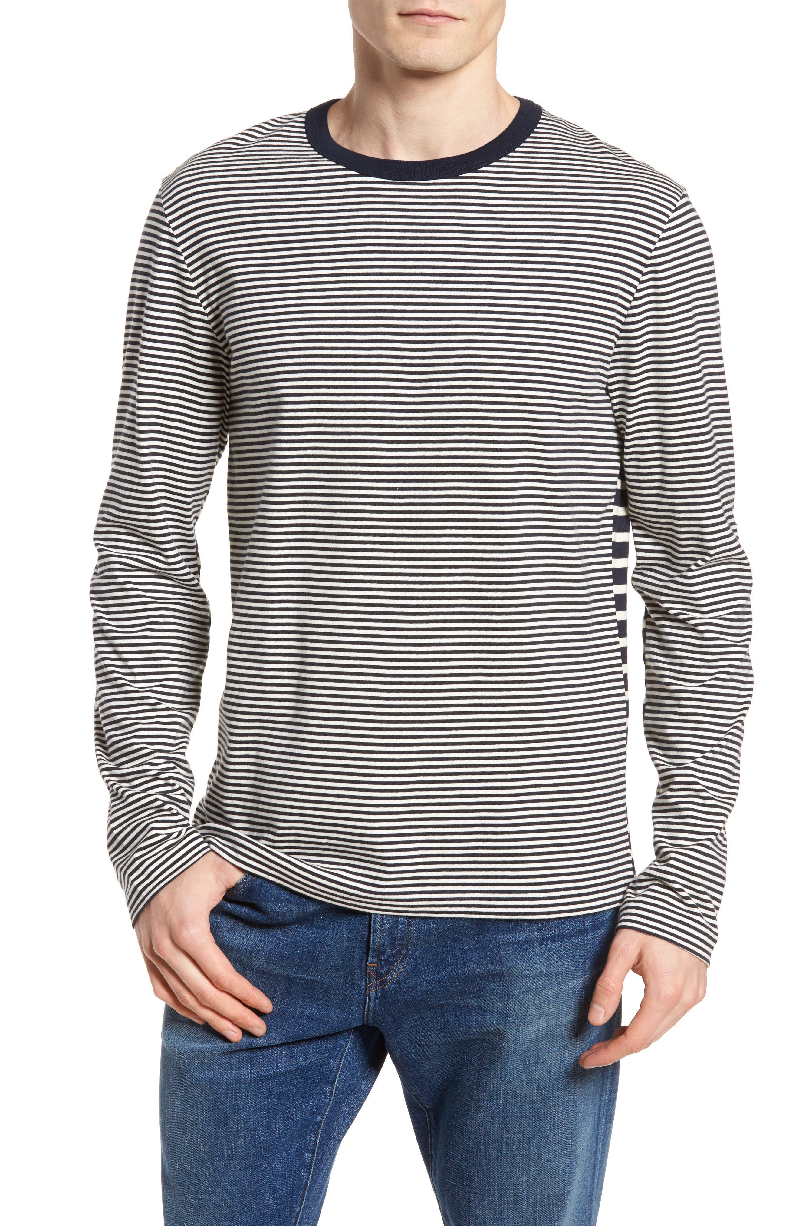 Mix Stripe Long Sleeve T-Shirt,                         Main,                         color, Turtle Dove/ Marine Blue