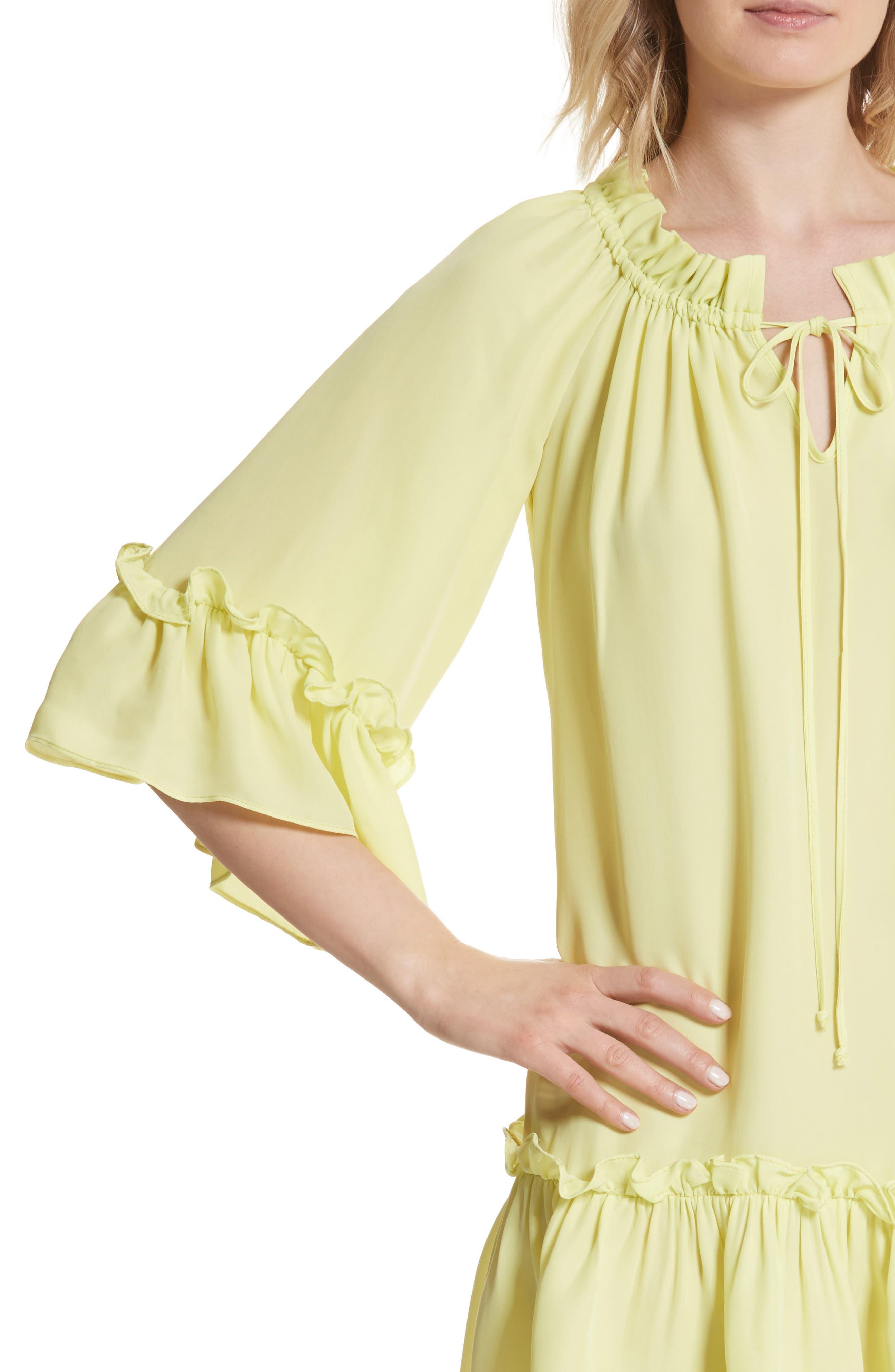 Santorini Ruffle Mini Dress,                             Alternate thumbnail 4, color,                             Lemon Yellow