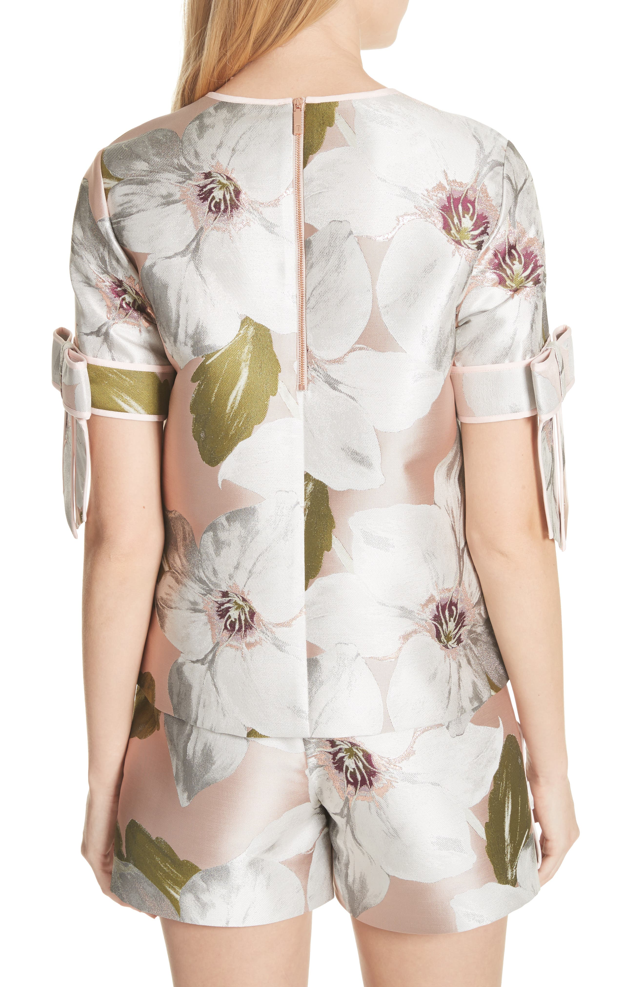 Chatsworth Bloom Bow Sleeve Top,                             Alternate thumbnail 2, color,                             Dusky Pink