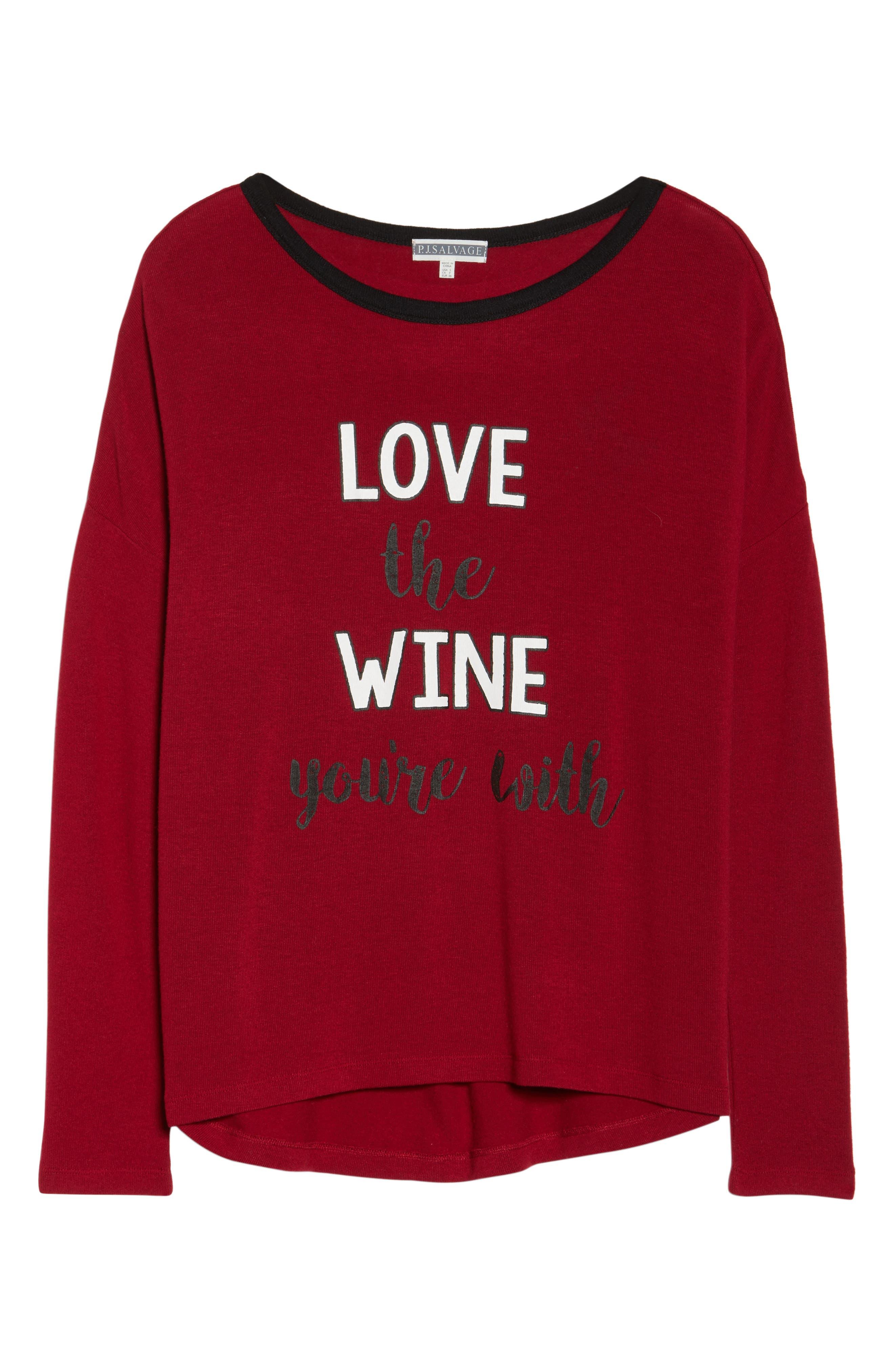 Graphic Pajama Top,                             Alternate thumbnail 4, color,                             Deep Red