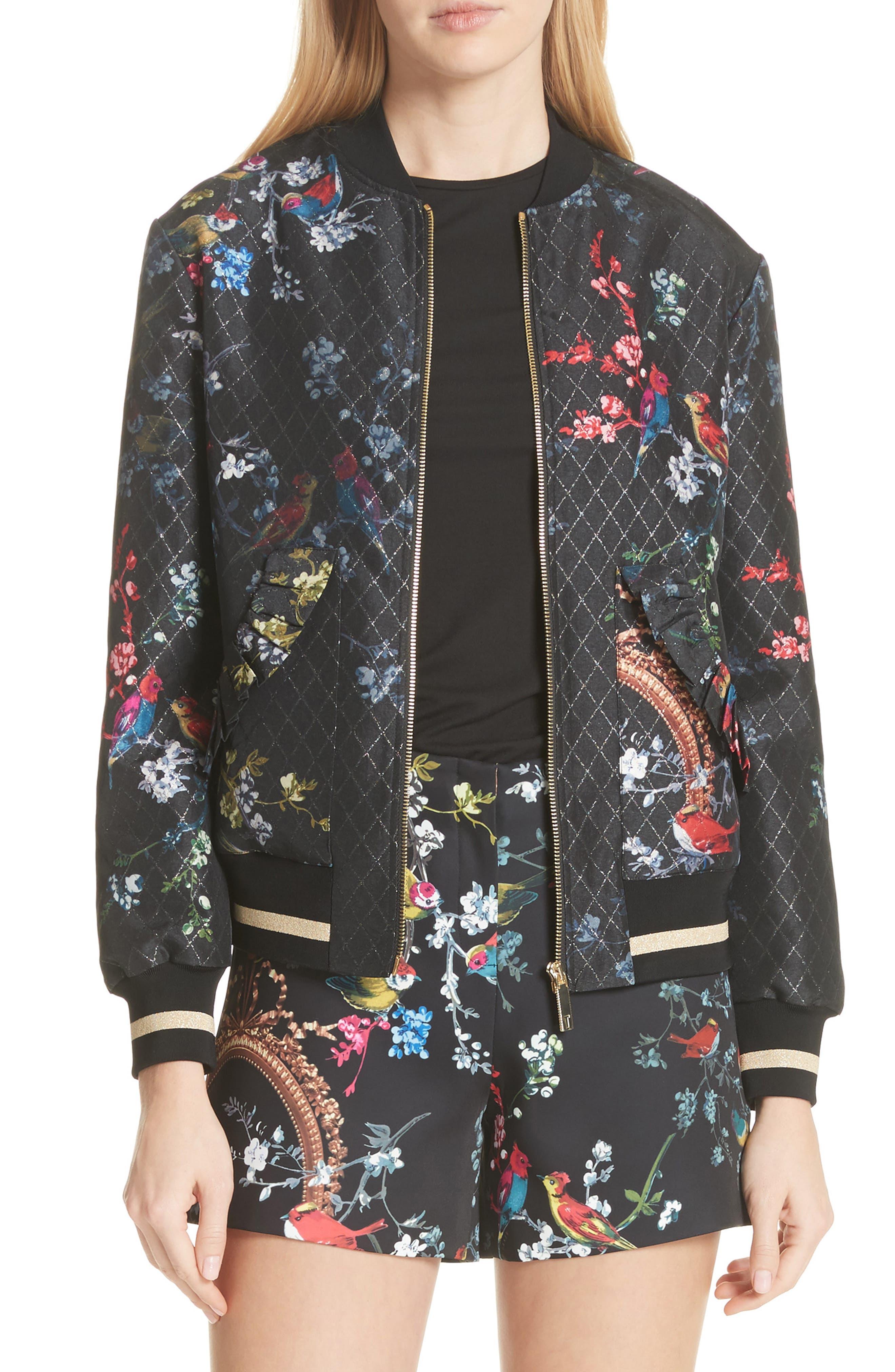 Opulent Fauna Bomber Jacket,                         Main,                         color, Black