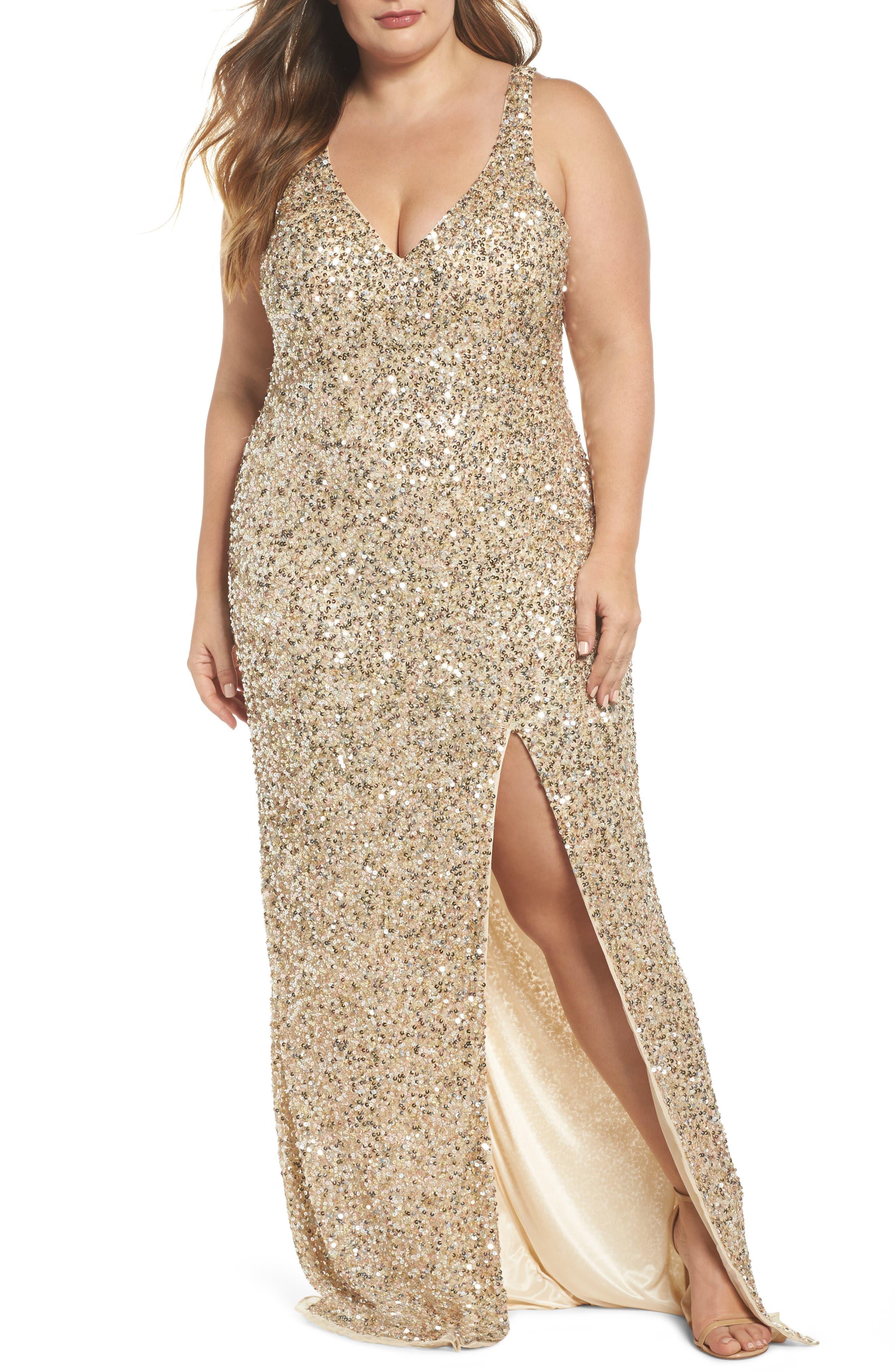 Front Slit Sequin Gown,                         Main,                         color, Gold Multi