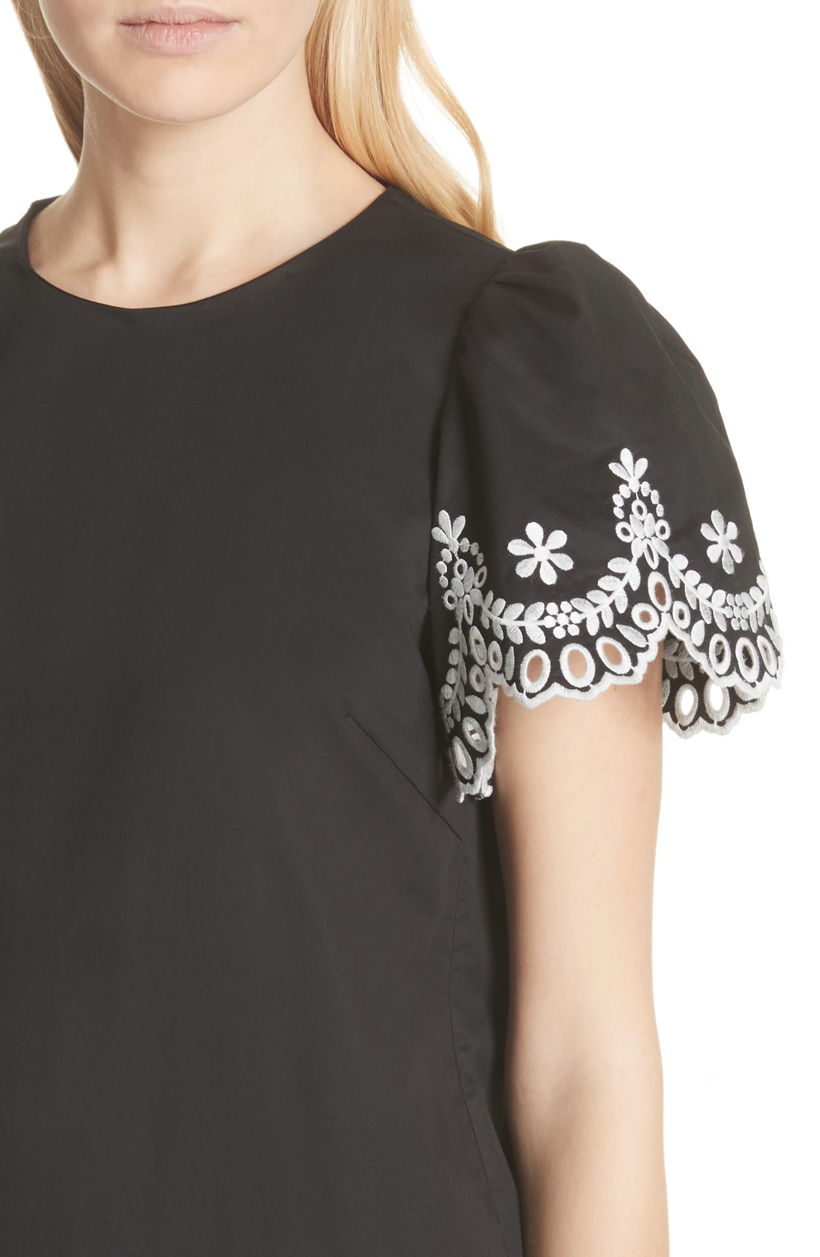 embroidered cutwork minidress,                             Alternate thumbnail 4, color,                             Black