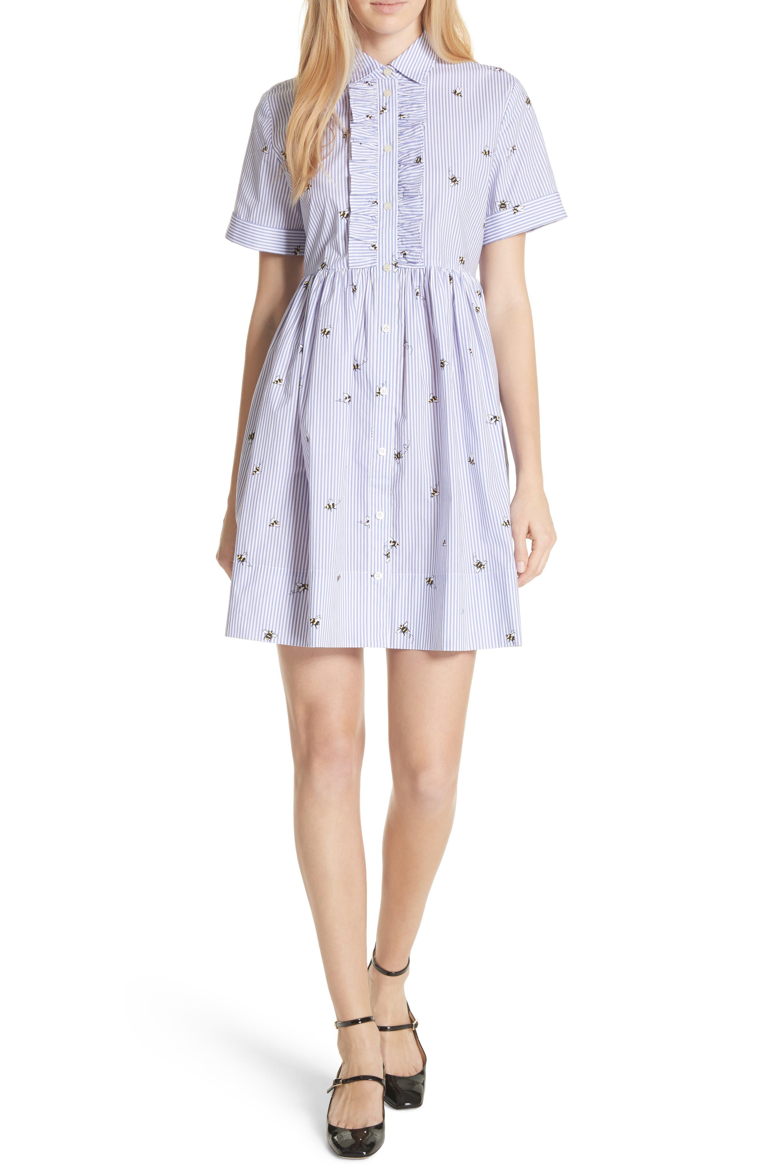 abuzz poplin shirtdress,                             Main thumbnail 1, color,                             Fresh White/ Rich Lapis