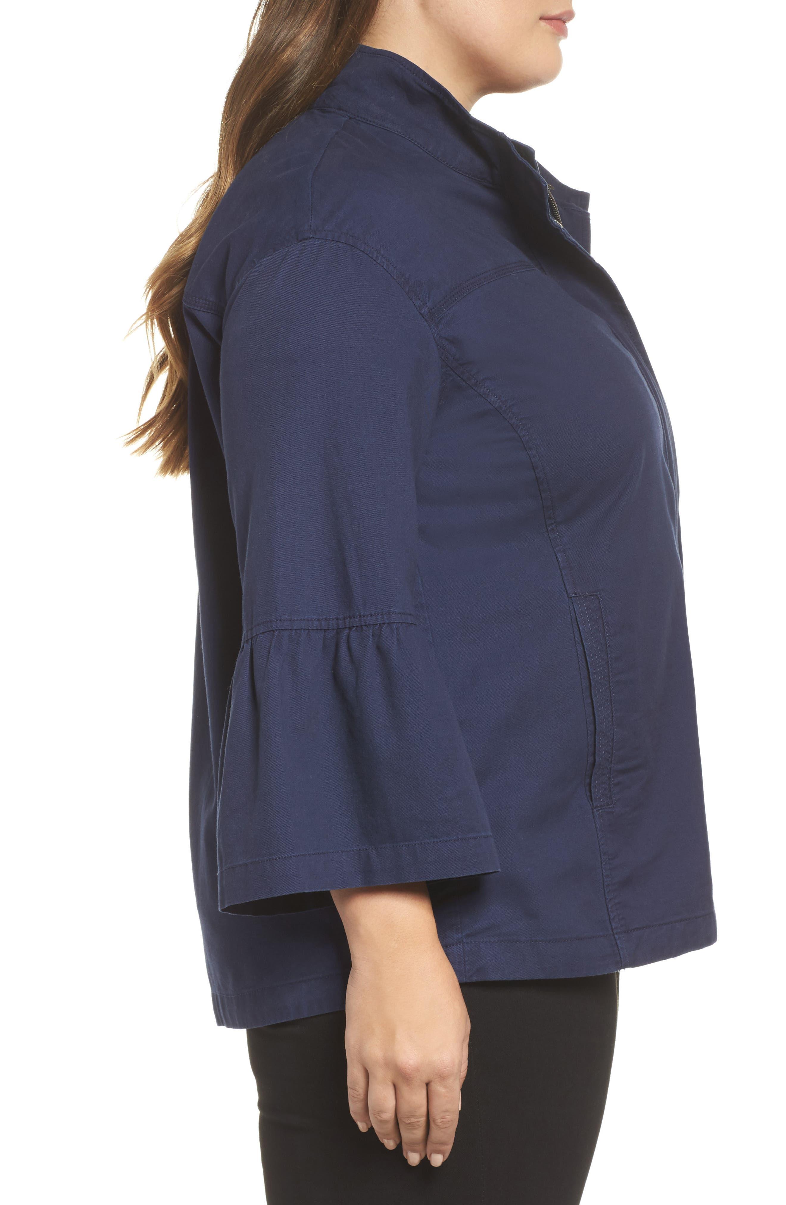 Alternate Image 3  - Caslon® Bell Sleeve Utility Jacket (Plus Size)