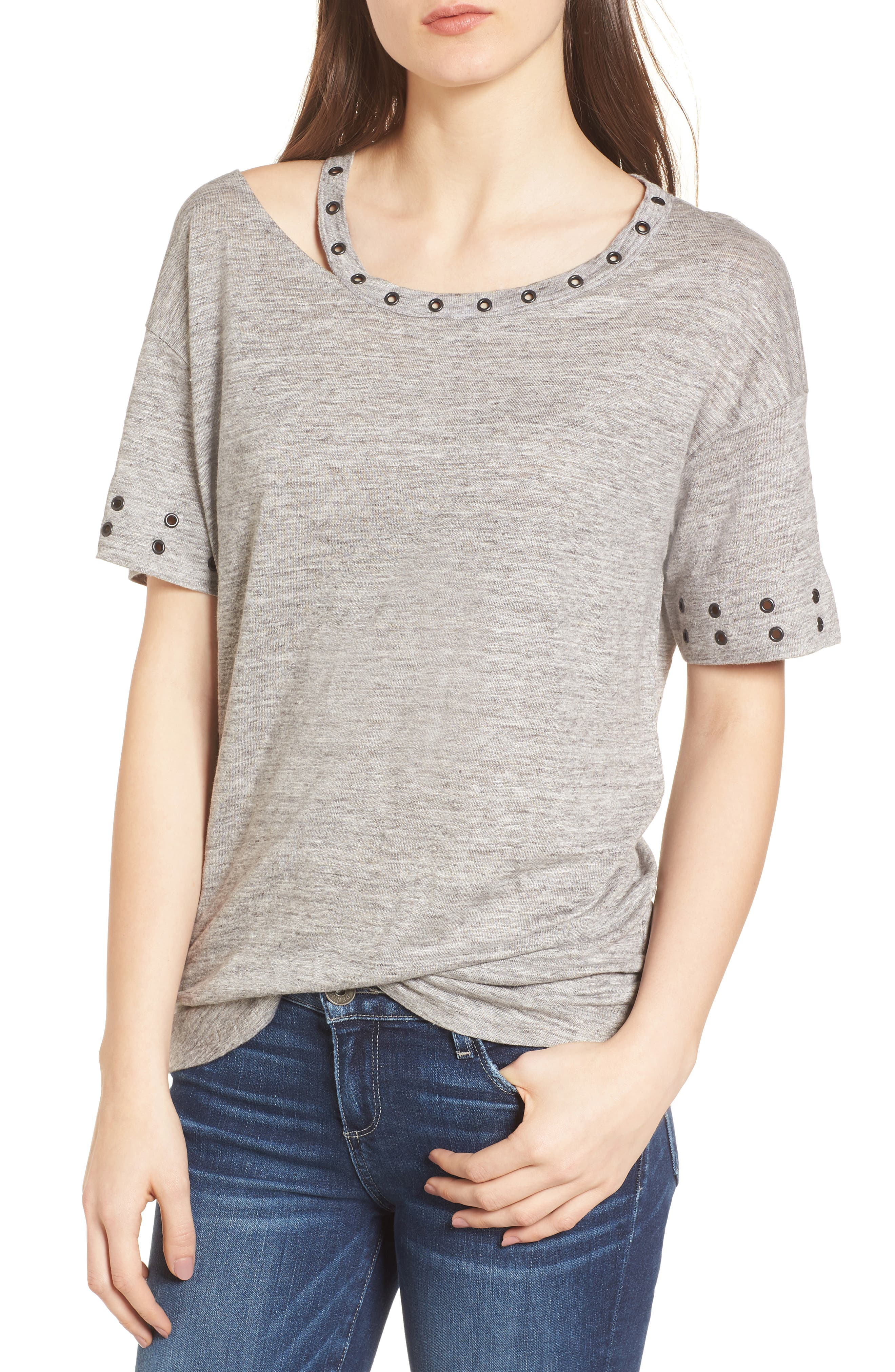 Shanni Grommet Tee,                         Main,                         color, Heather Grey