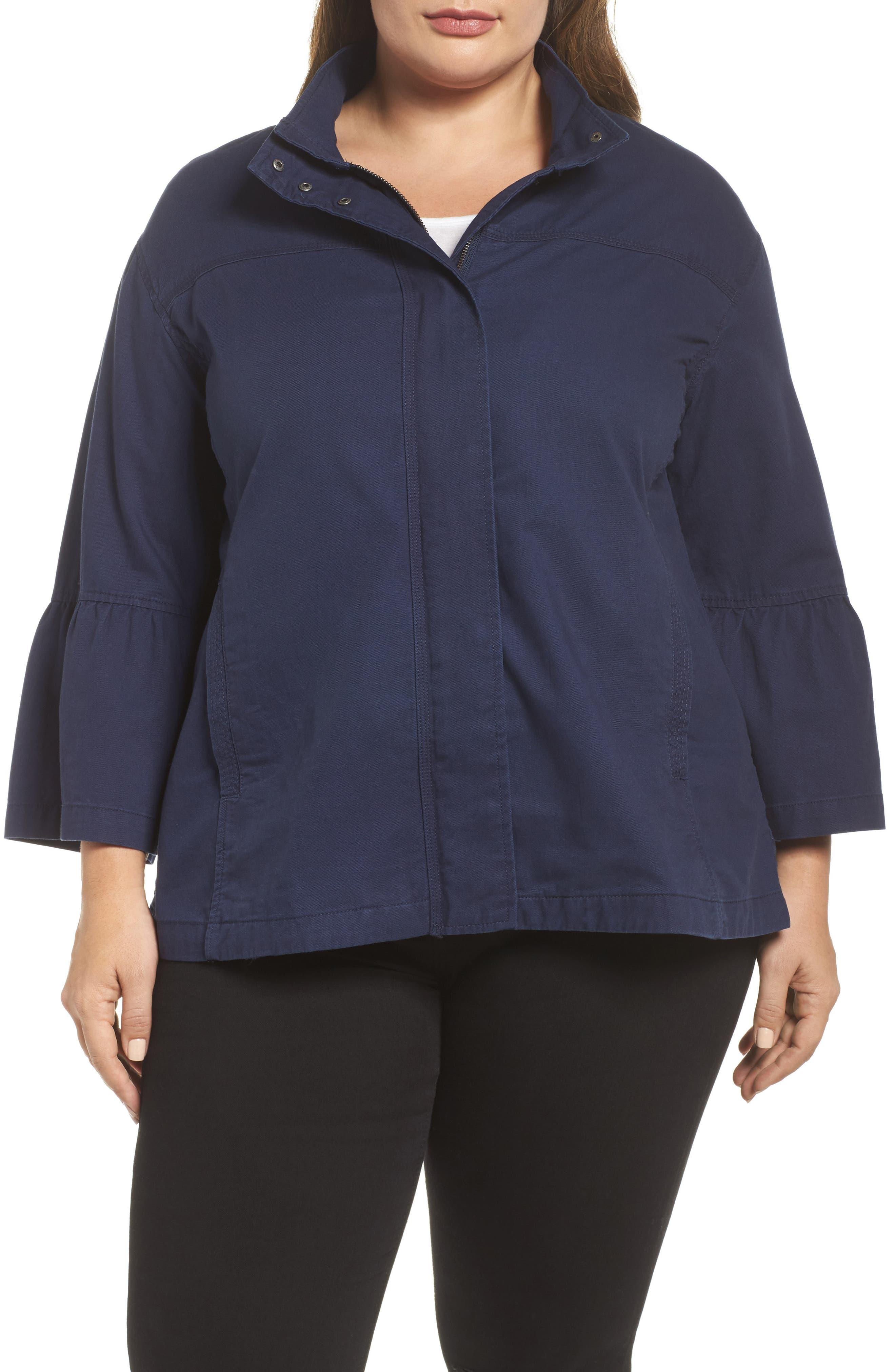 Alternate Image 4  - Caslon® Bell Sleeve Utility Jacket (Plus Size)