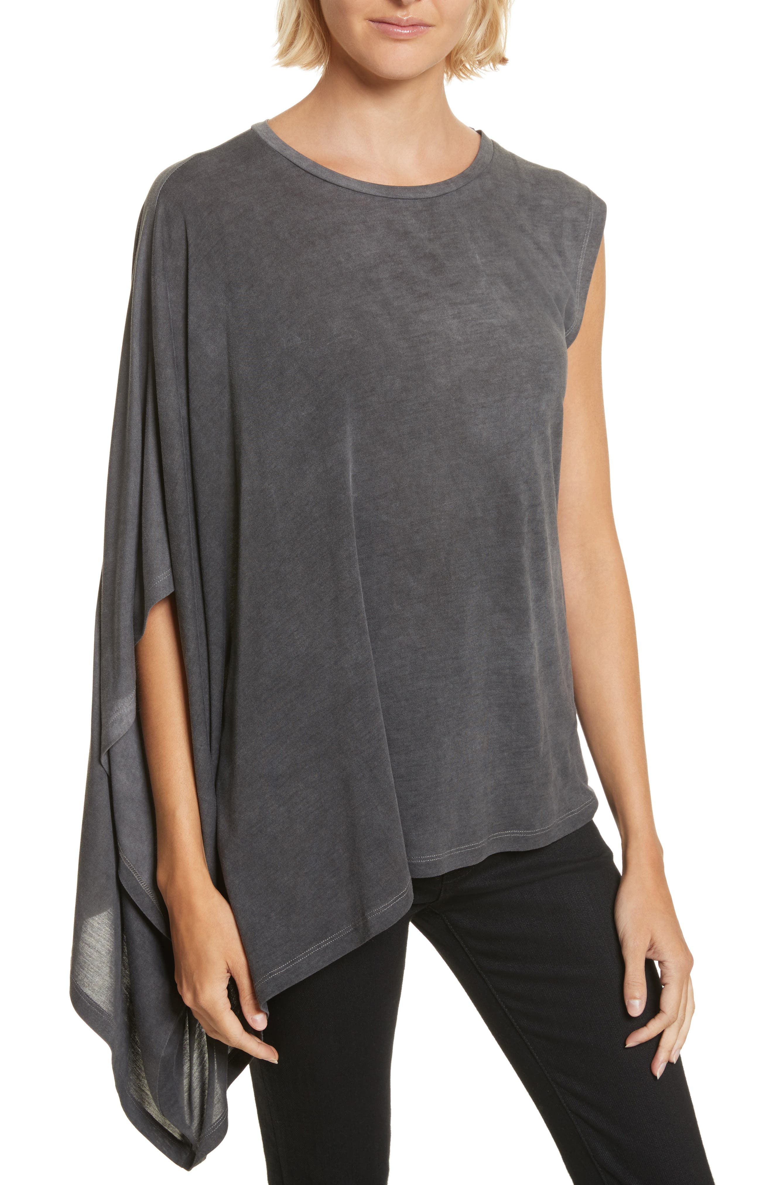 Eloaz Asymmetrical Draped Top,                         Main,                         color, Charcoal