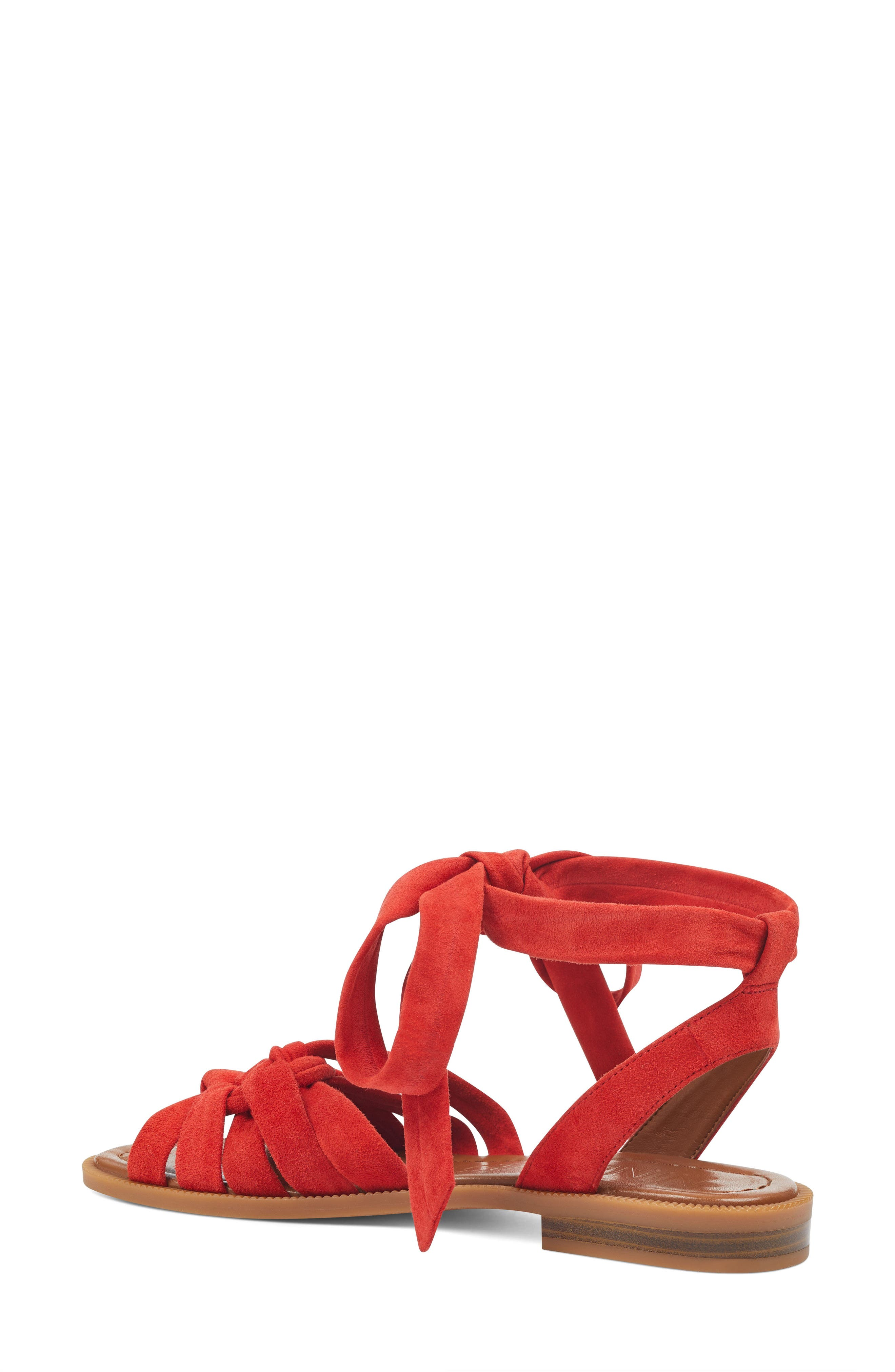 Xameera Knotted Sandal,                             Alternate thumbnail 2, color,                             Red Suede