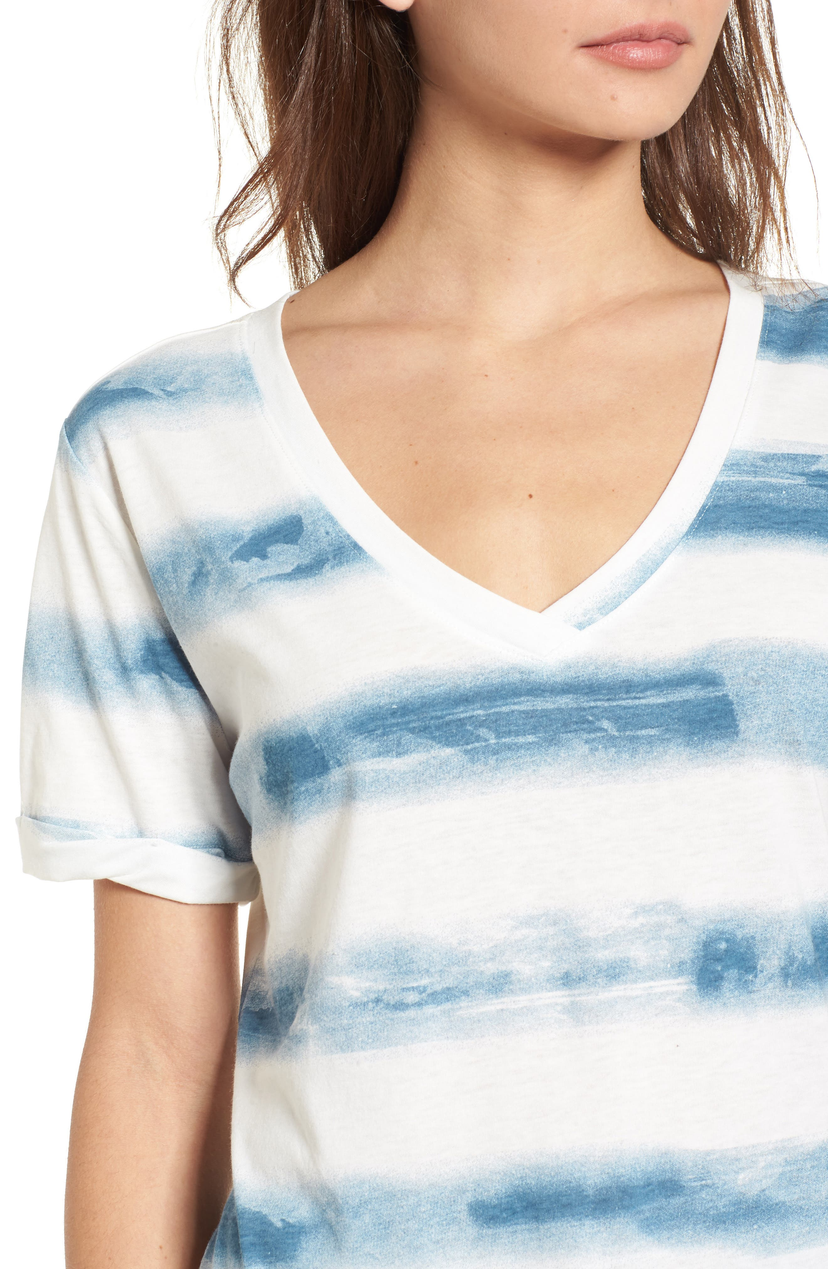 Stripe Roll Sleeve Tee,                             Alternate thumbnail 4, color,                             Off White/ Blue Burnout Stripe