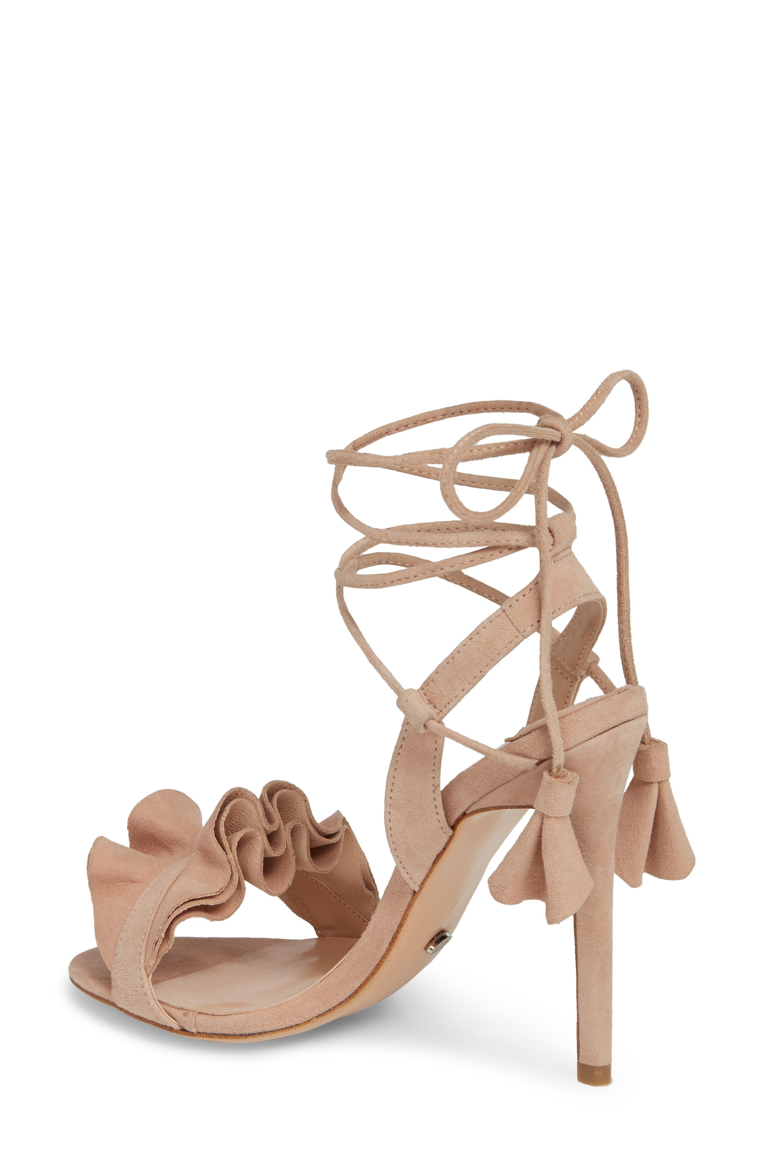 Kalipso Ruffled Wraparound Sandal,                             Alternate thumbnail 2, color,                             Blush Suede