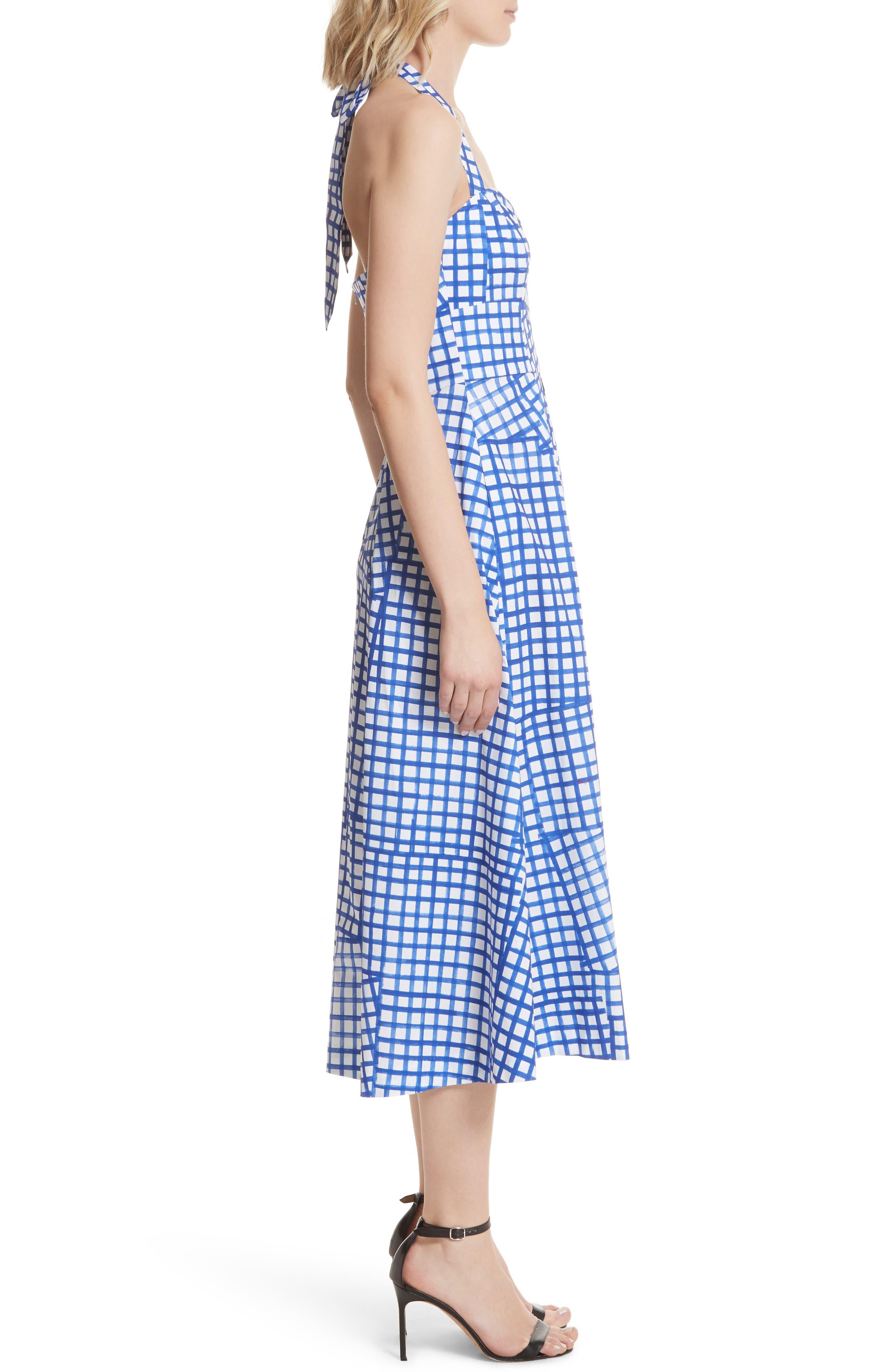 Paige Stretch Cotton Halter Dress,                             Alternate thumbnail 3, color,                             Blueberry