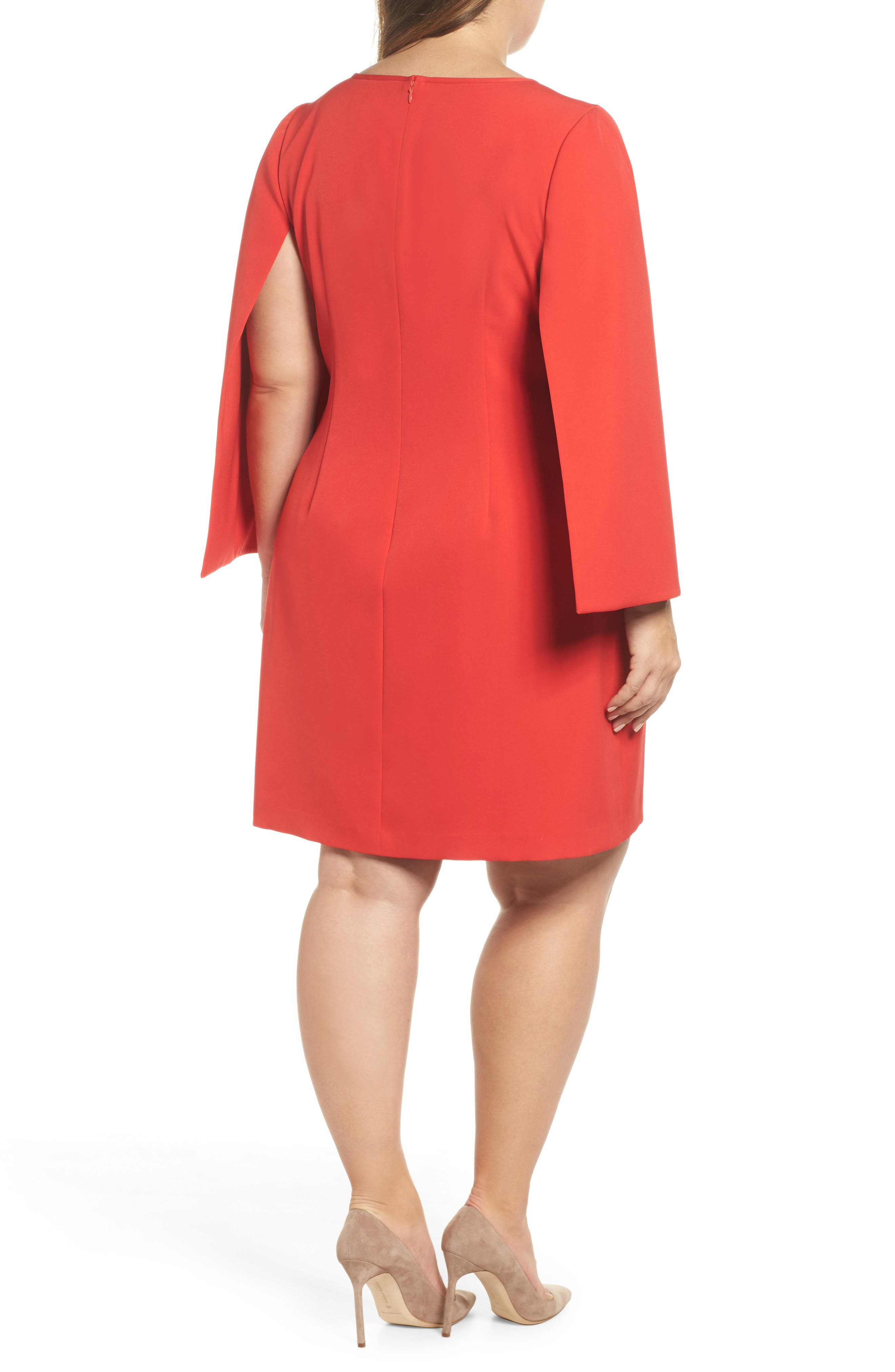 Jewel Neck Cape Sleeve Dress,                             Alternate thumbnail 3, color,                             Red