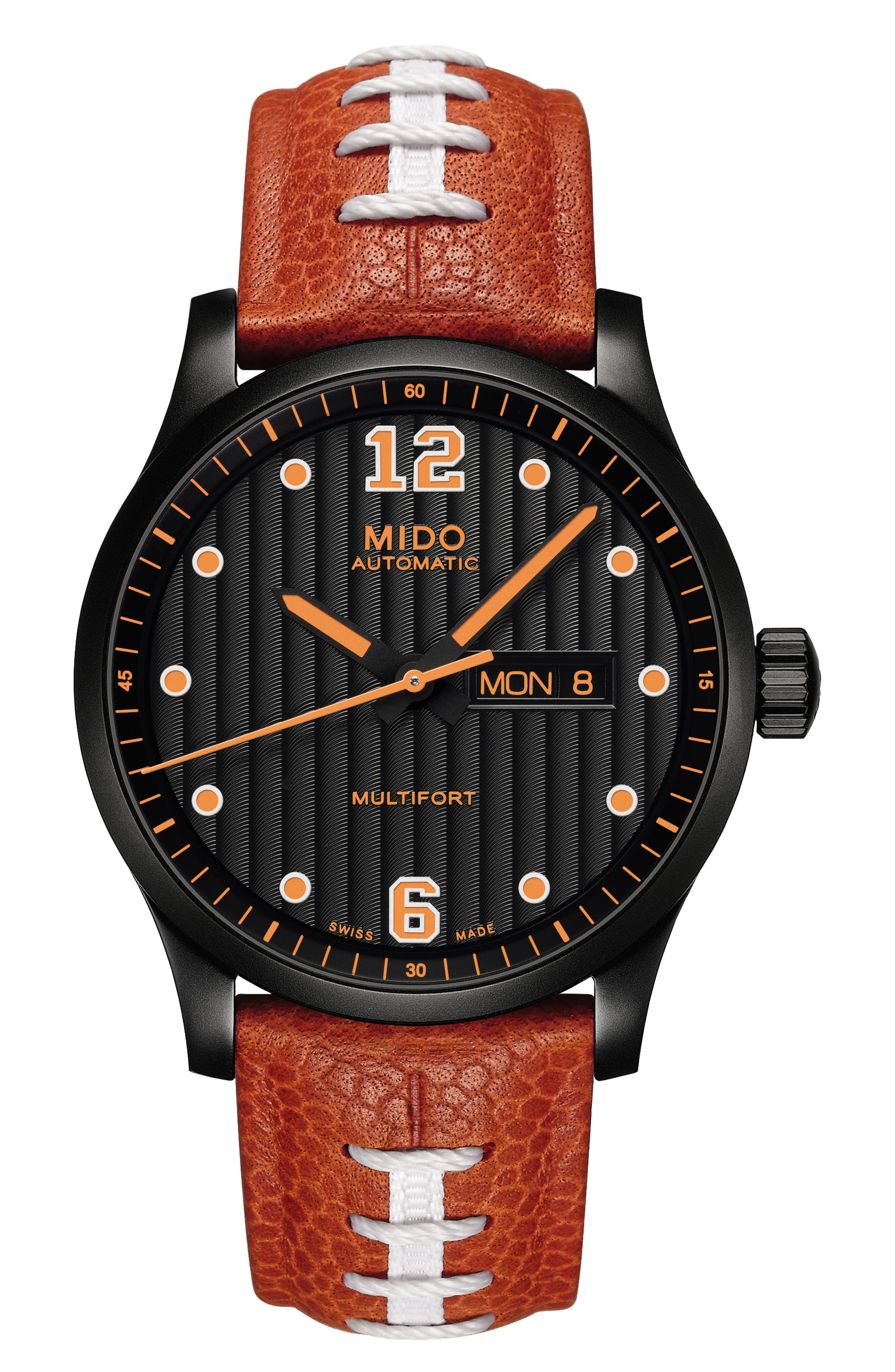 Multifort Automatic Leather Strap Watch, 42mm,                             Main thumbnail 1, color,                             Red/ Black