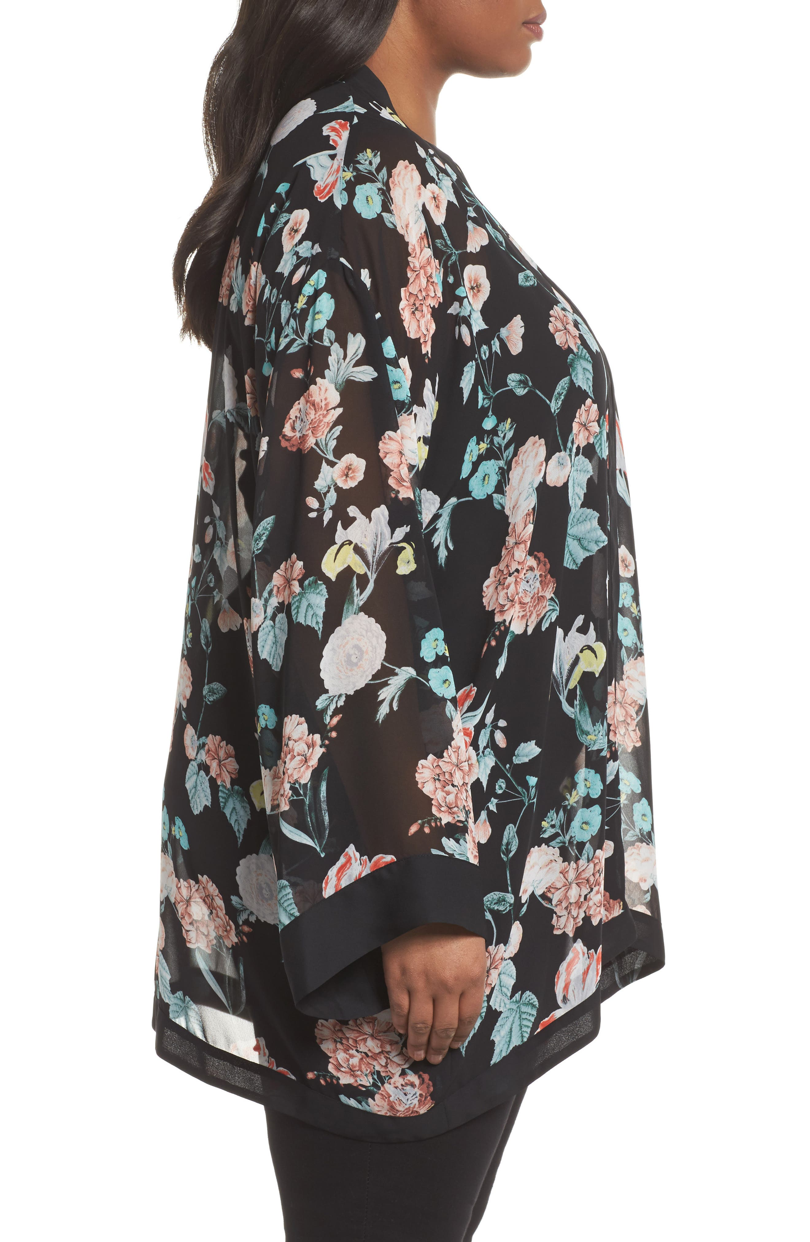 Floral Gardens Kimono Blouse,                             Alternate thumbnail 3, color,                             Rich Black
