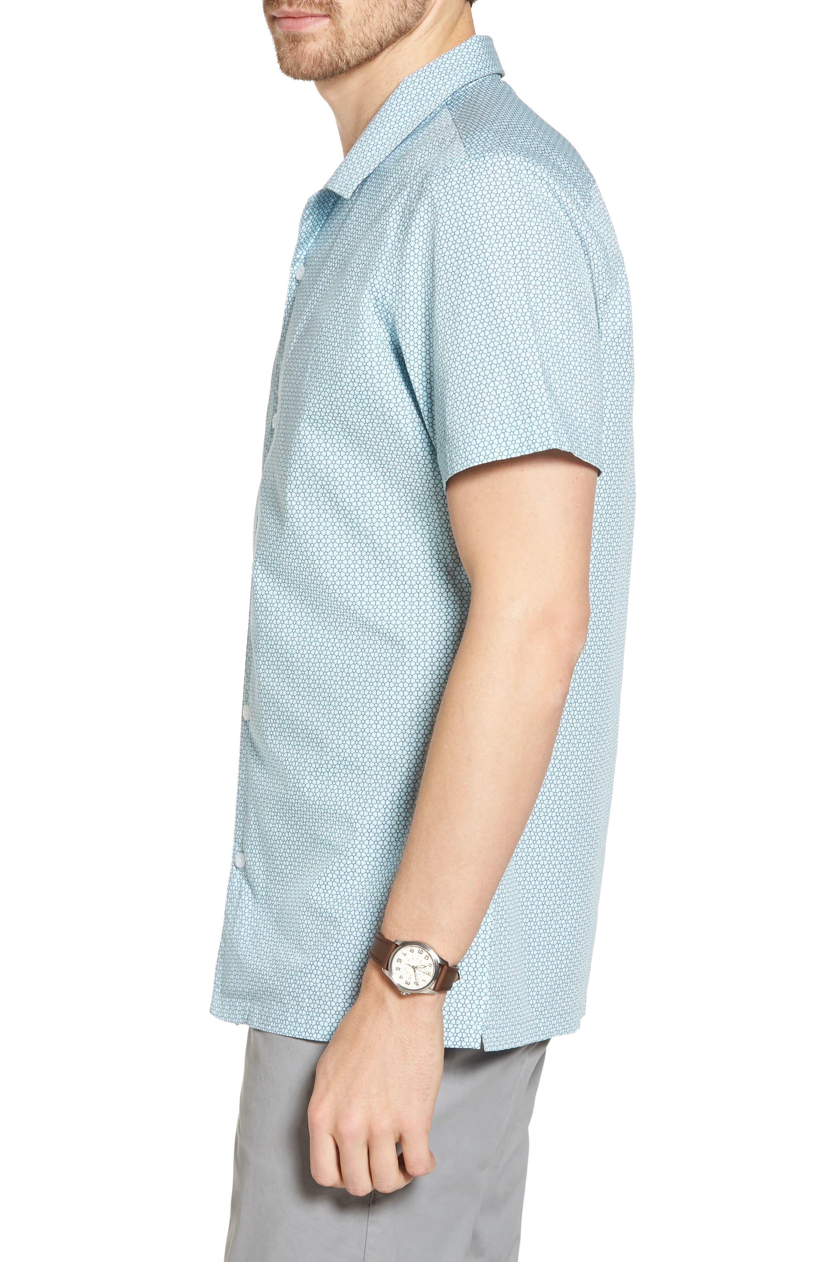 Trim Fit Stretch Geometric Camp Shirt,                             Alternate thumbnail 4, color,                             Blue Orydalis Honeycomb