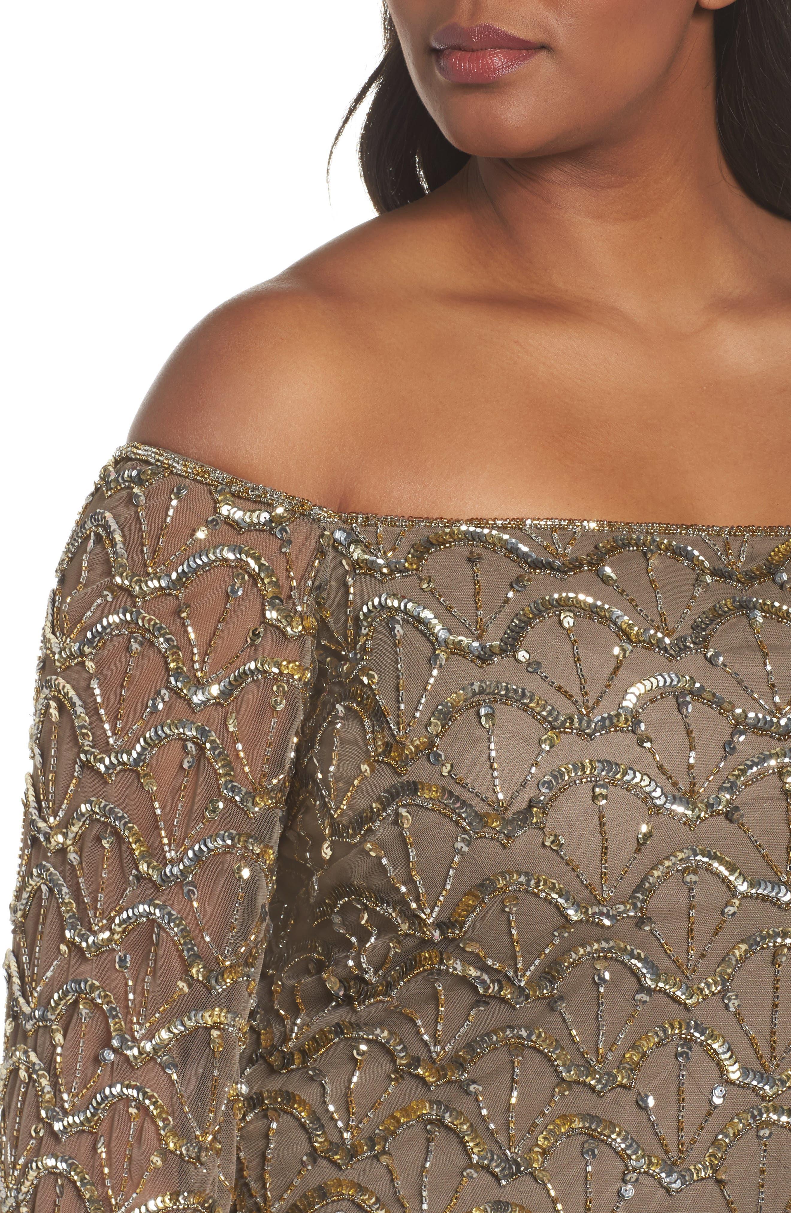 Embellished Off the Shoulder Gown,                             Alternate thumbnail 4, color,                             Mocha