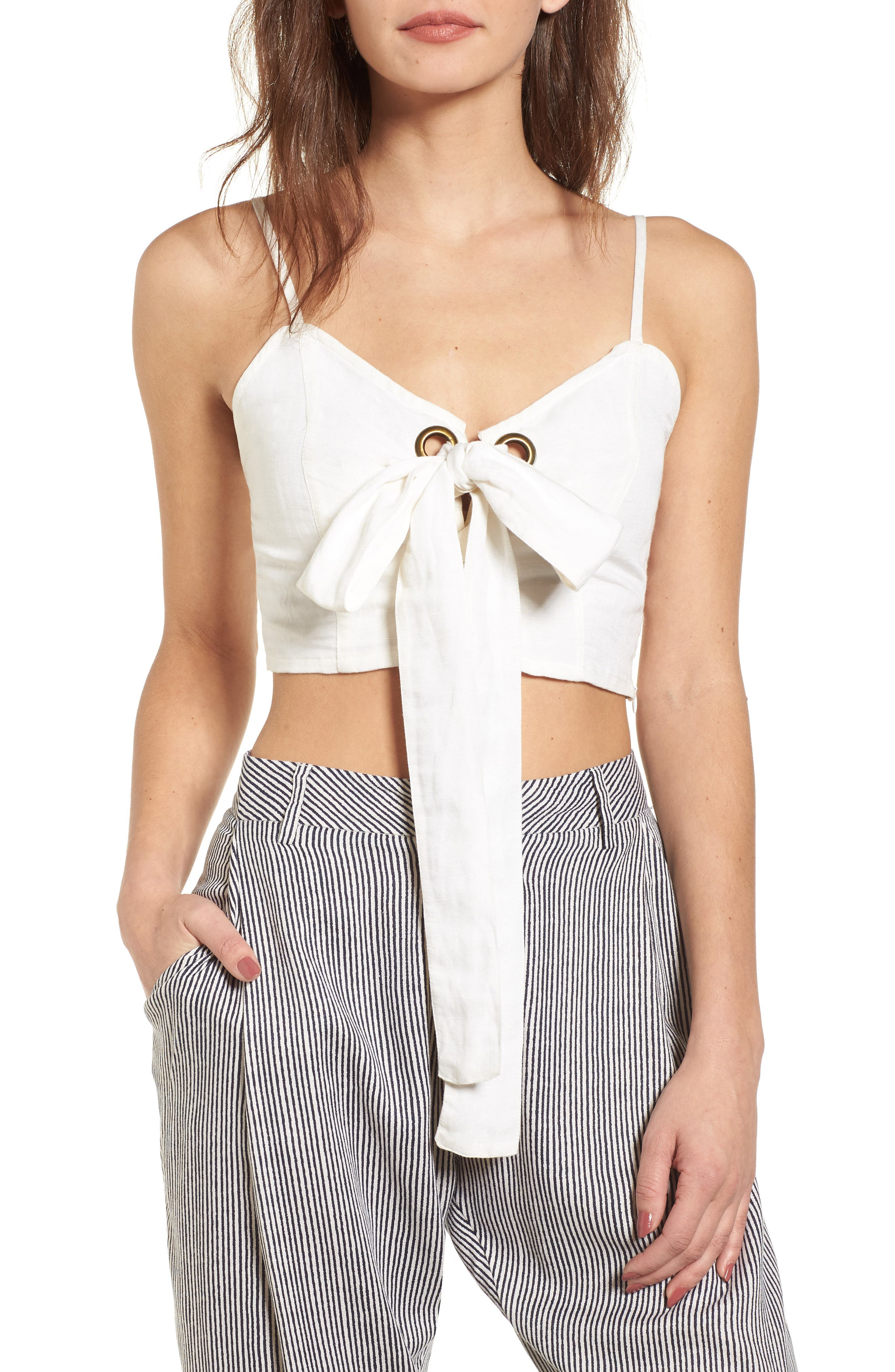 Tied Up on You Linen Blend Top,                         Main,                         color, Cool Whip