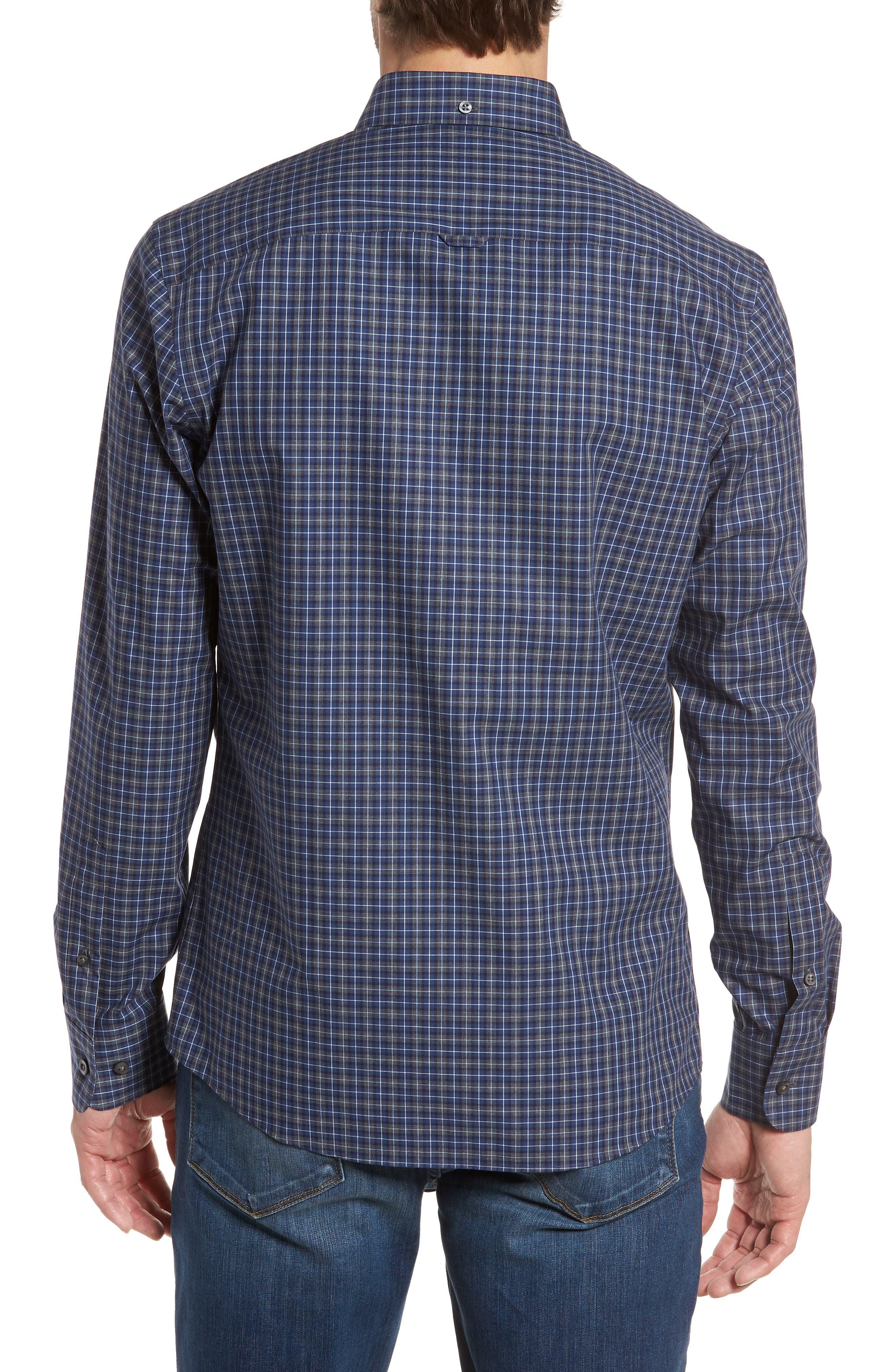 Trim Fit Check Sport Shirt,                             Alternate thumbnail 3, color,                             Navy Peacoat Grey Check