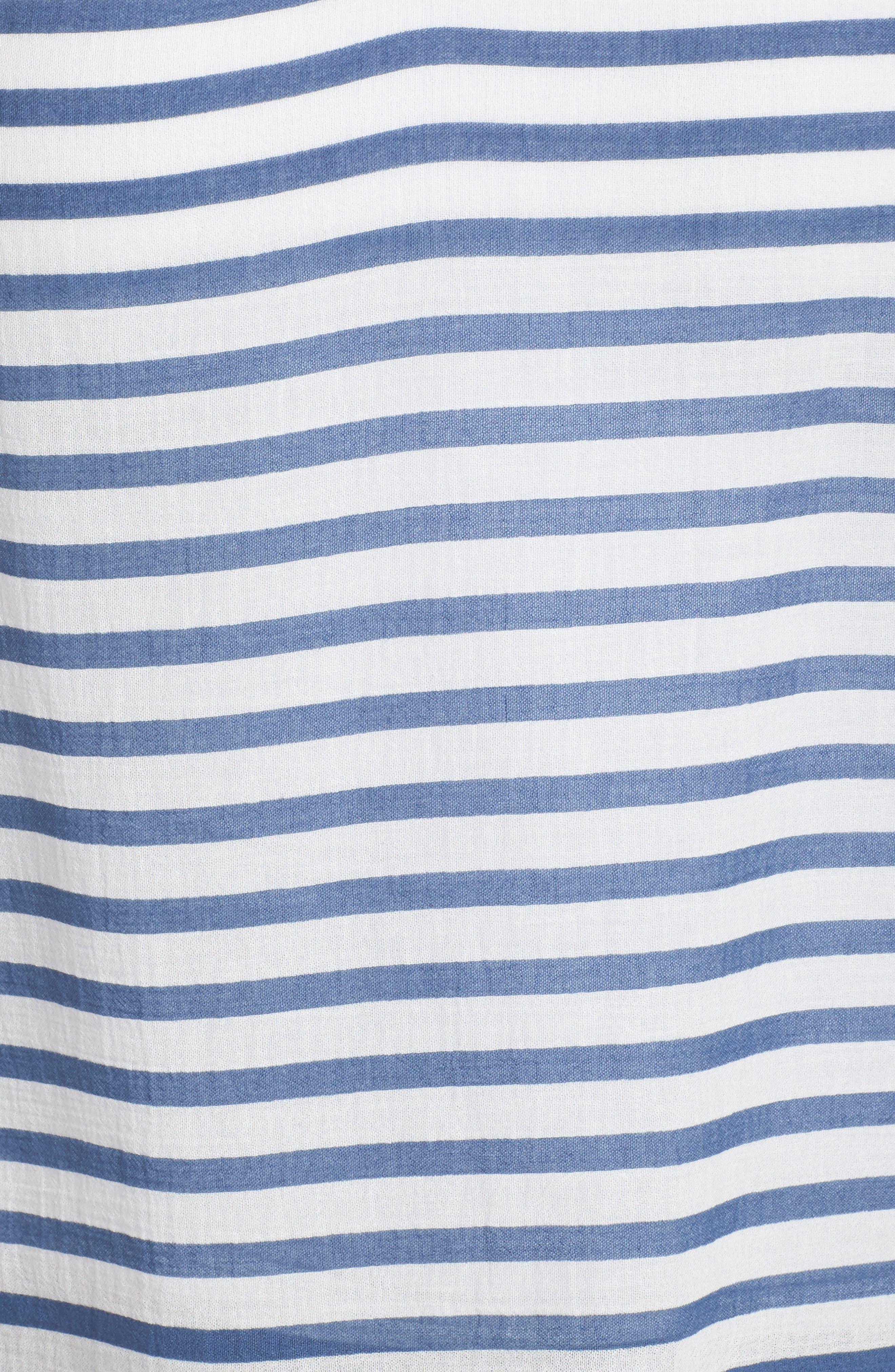 Stripe Peasant Blouse,                             Alternate thumbnail 5, color,                             Patina Blue