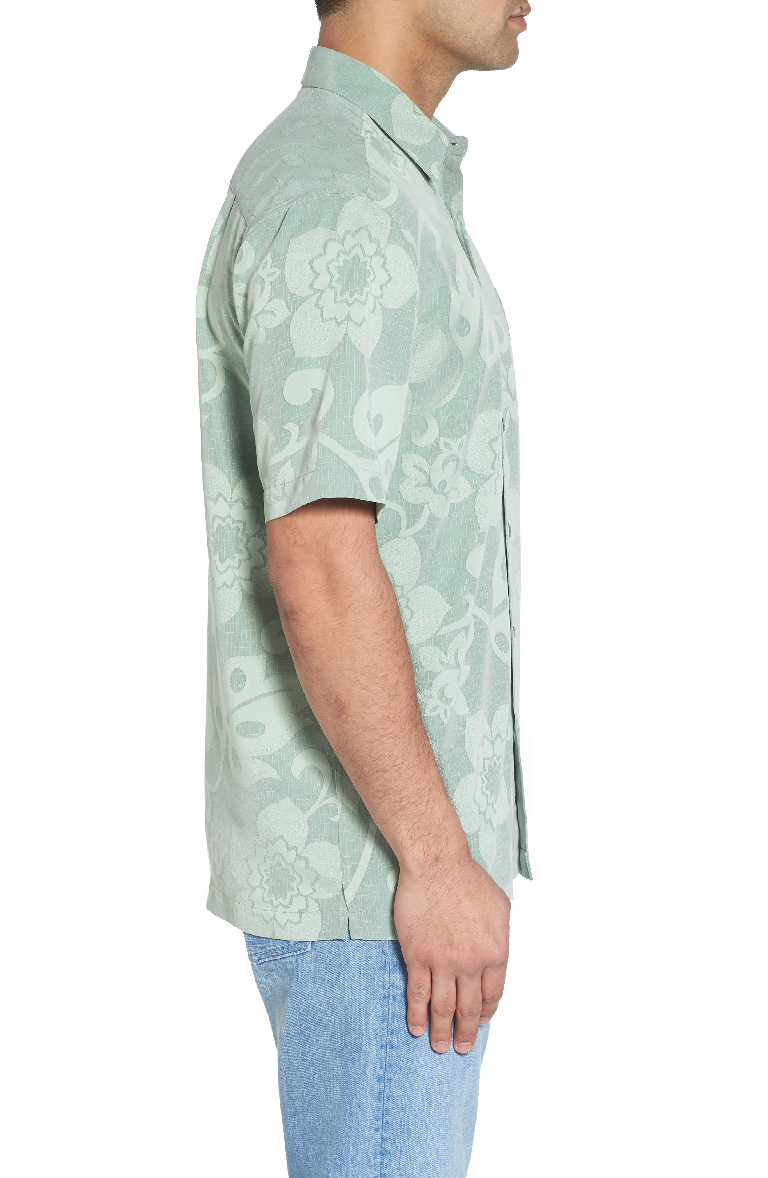 Kalawai Relaxed Fit Camp Shirt,                             Alternate thumbnail 3, color,                             Green