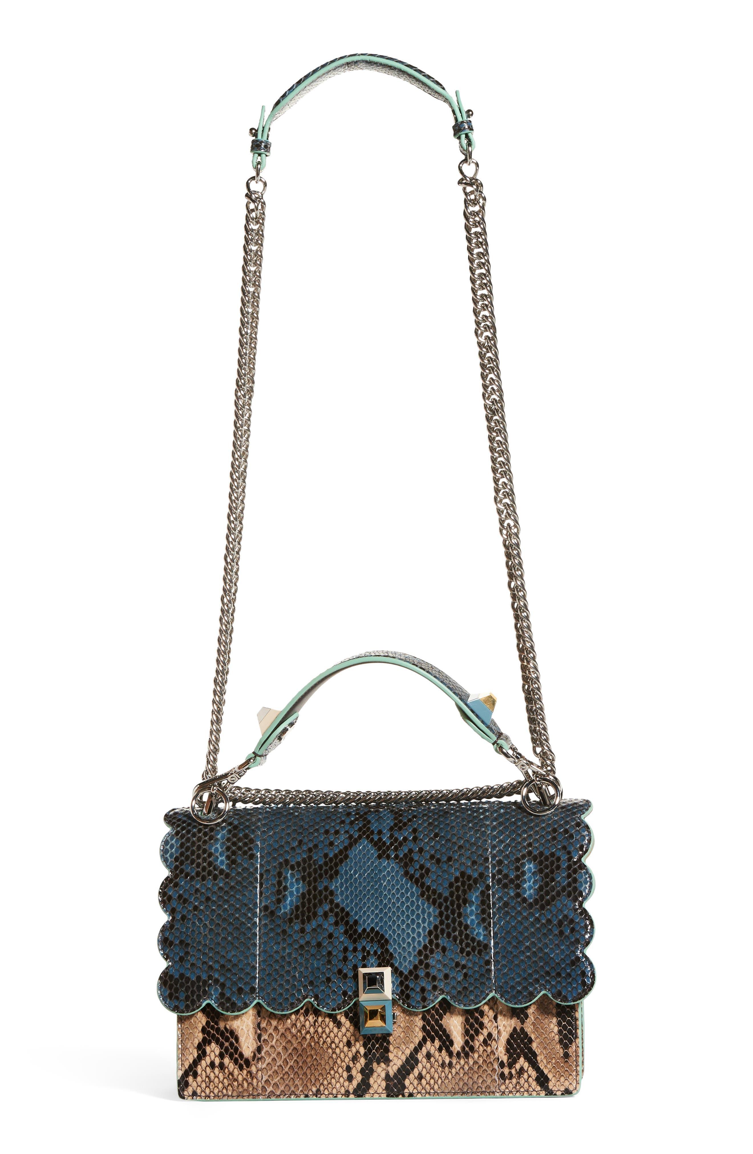 Kan I Scallop Genuine Python Shoulder Bag,                             Main thumbnail 1, color,                             Blue/ Brown