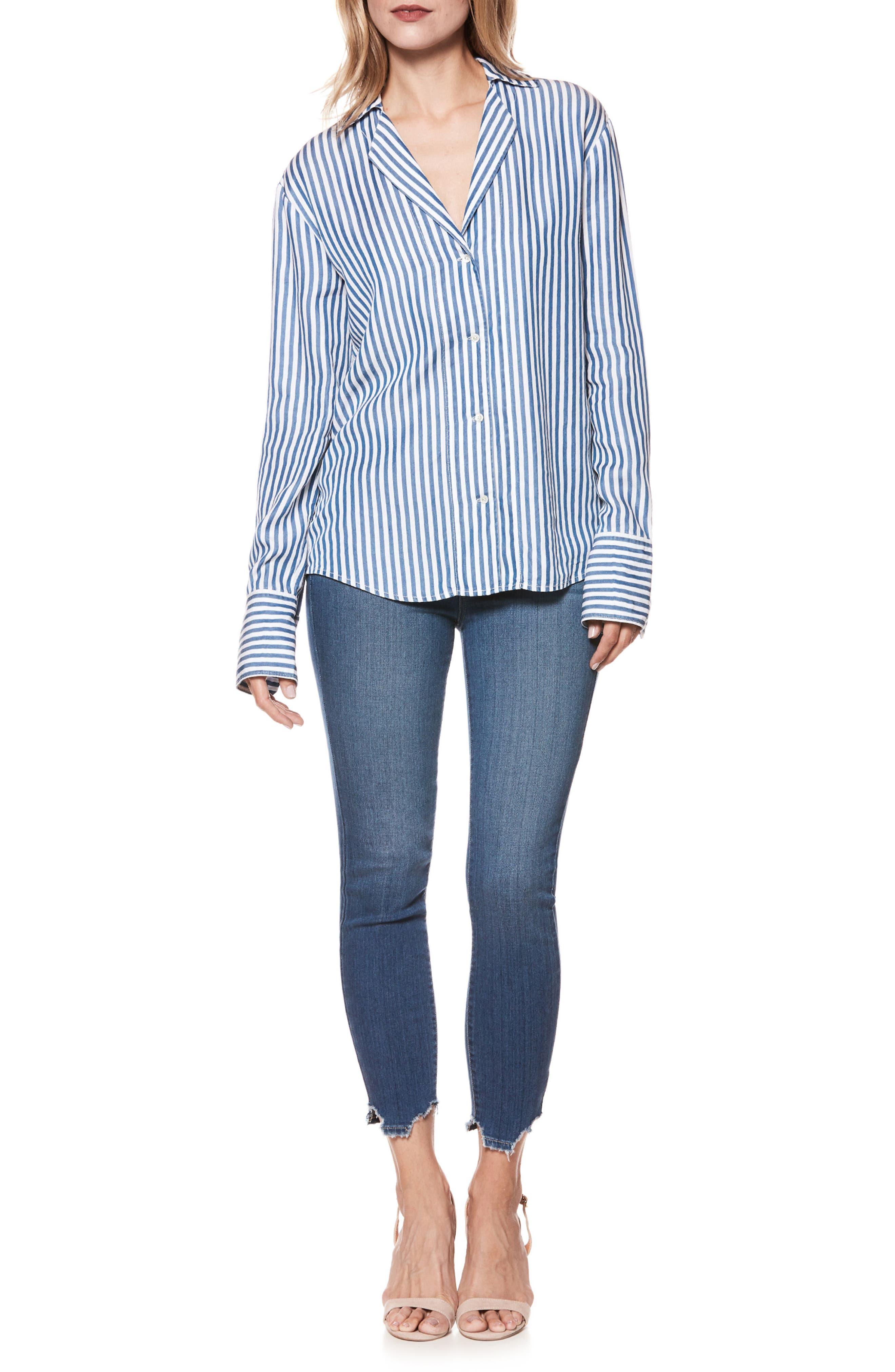 Elora Stripe Shirt,                             Alternate thumbnail 3, color,                             White/ Blue Bell Stripe