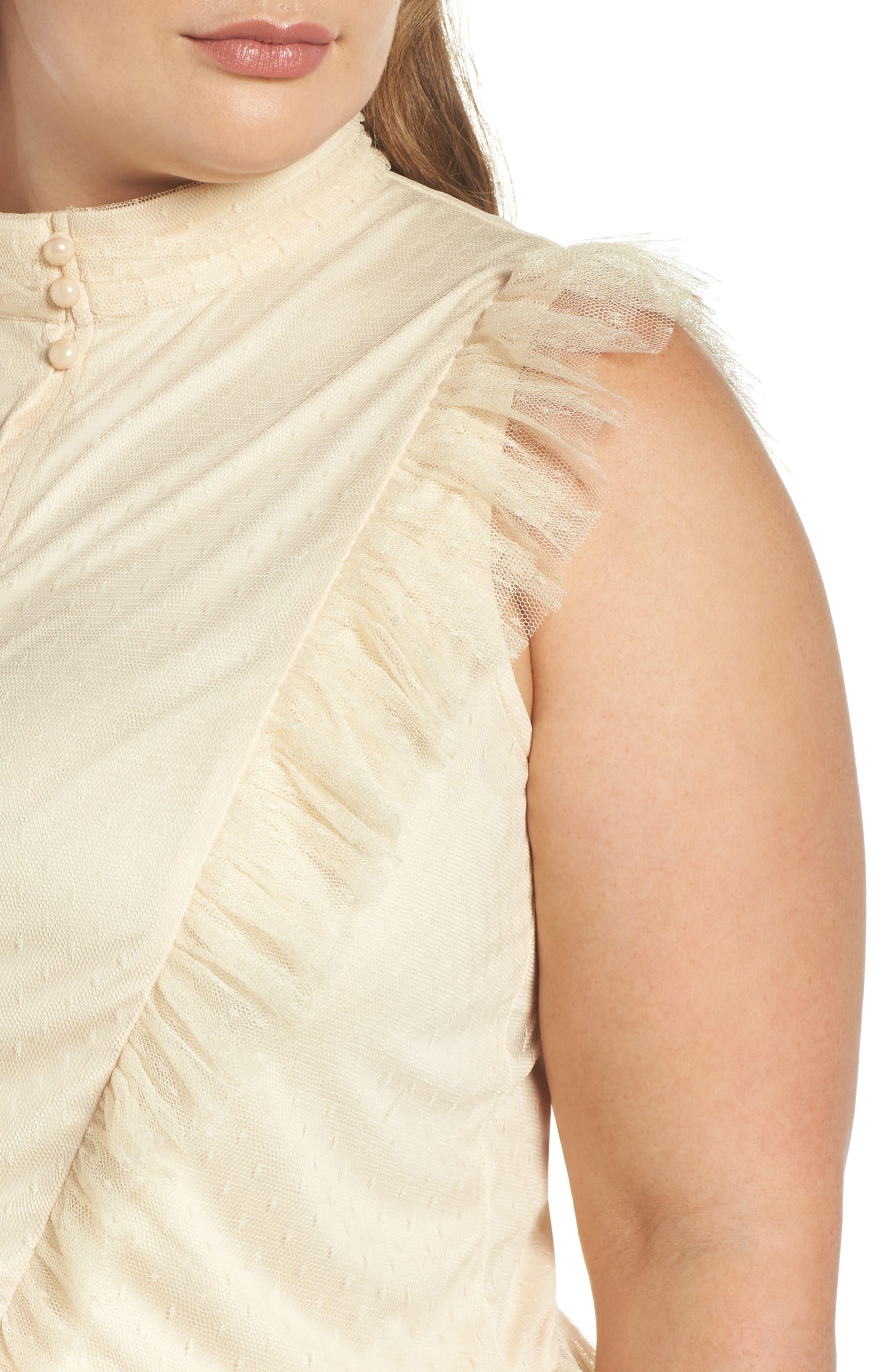 Ruffle Sheer Hem Maxi Dress,                             Alternate thumbnail 4, color,                             Cream