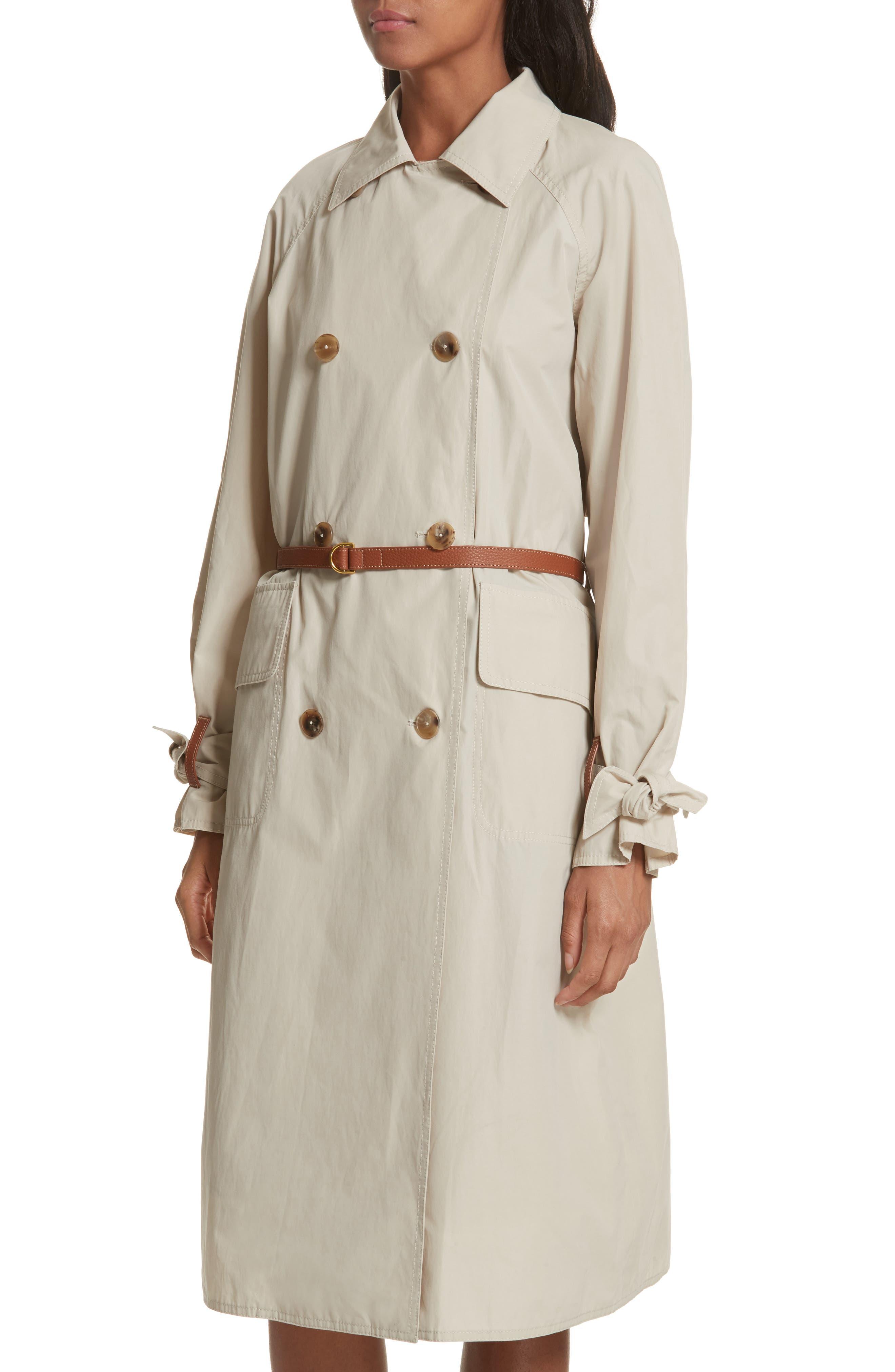 Marielle Leather Trim Trench Coat,                             Alternate thumbnail 4, color,                             Pale Stone