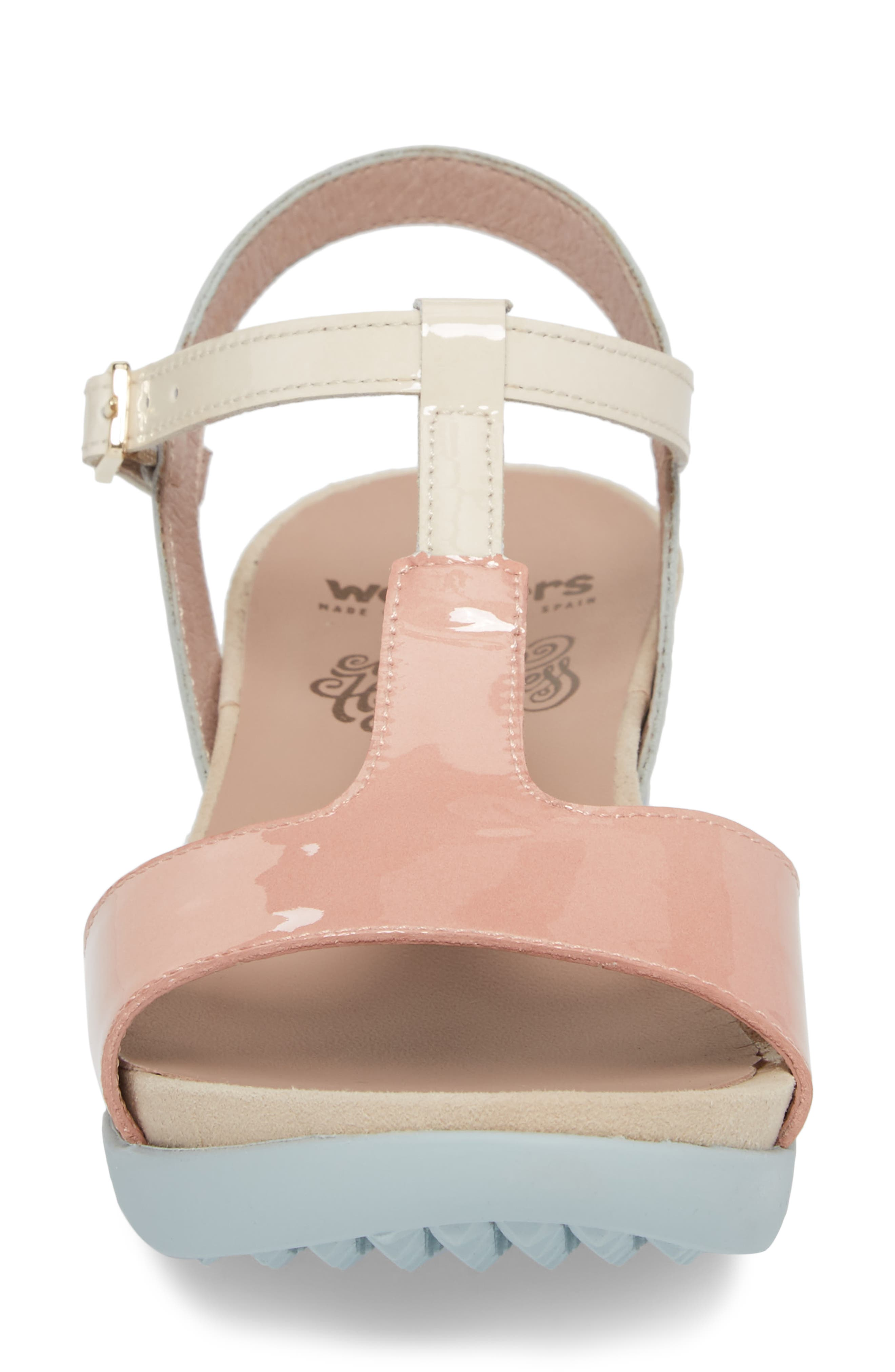Wedge Sandal,                             Alternate thumbnail 4, color,                             Nude/ Off/ Light Grey Leather
