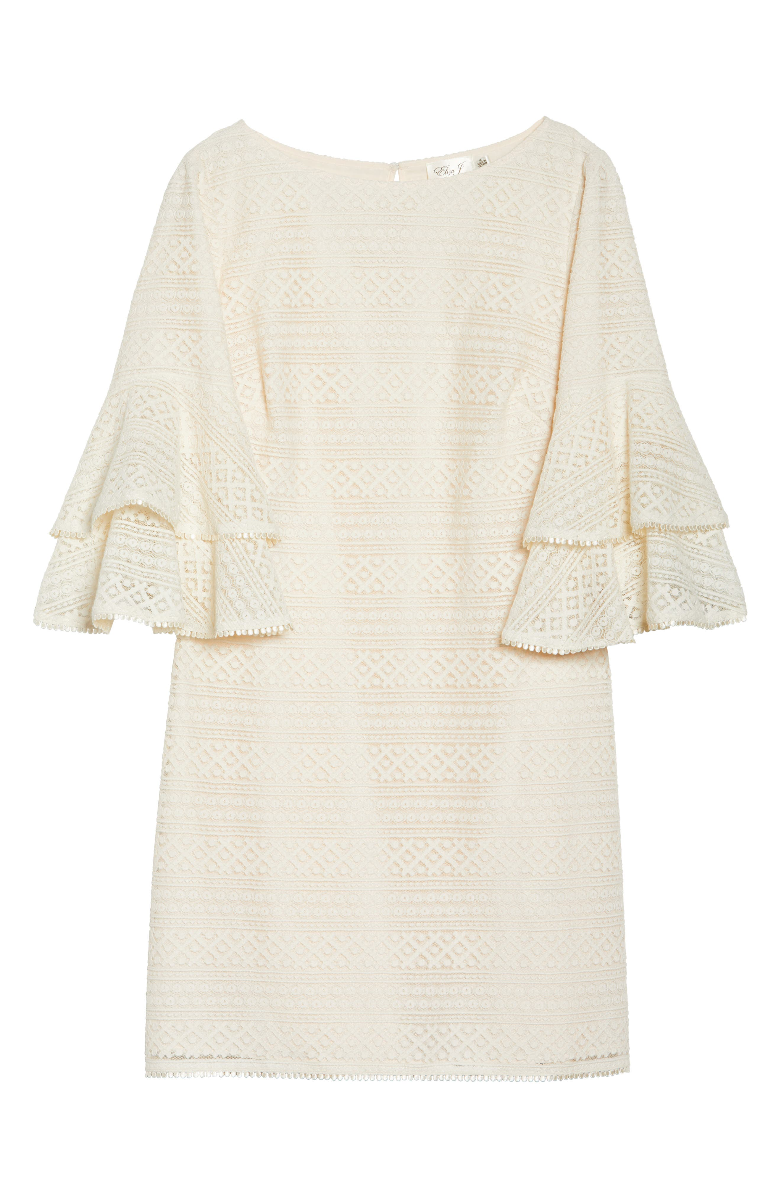 Bell Sleeve Lace Shift Dress,                             Alternate thumbnail 6, color,                             Ivory