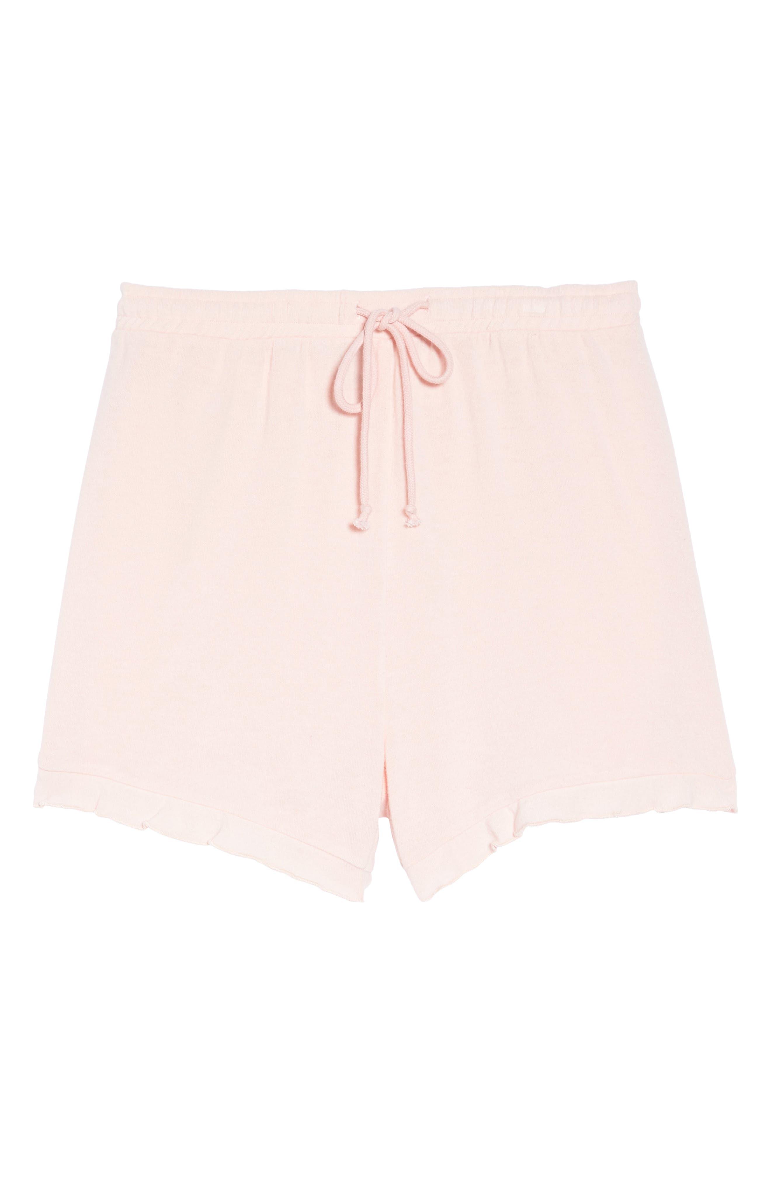 Ruffle Lounge Shorts,                             Alternate thumbnail 4, color,                             Blush