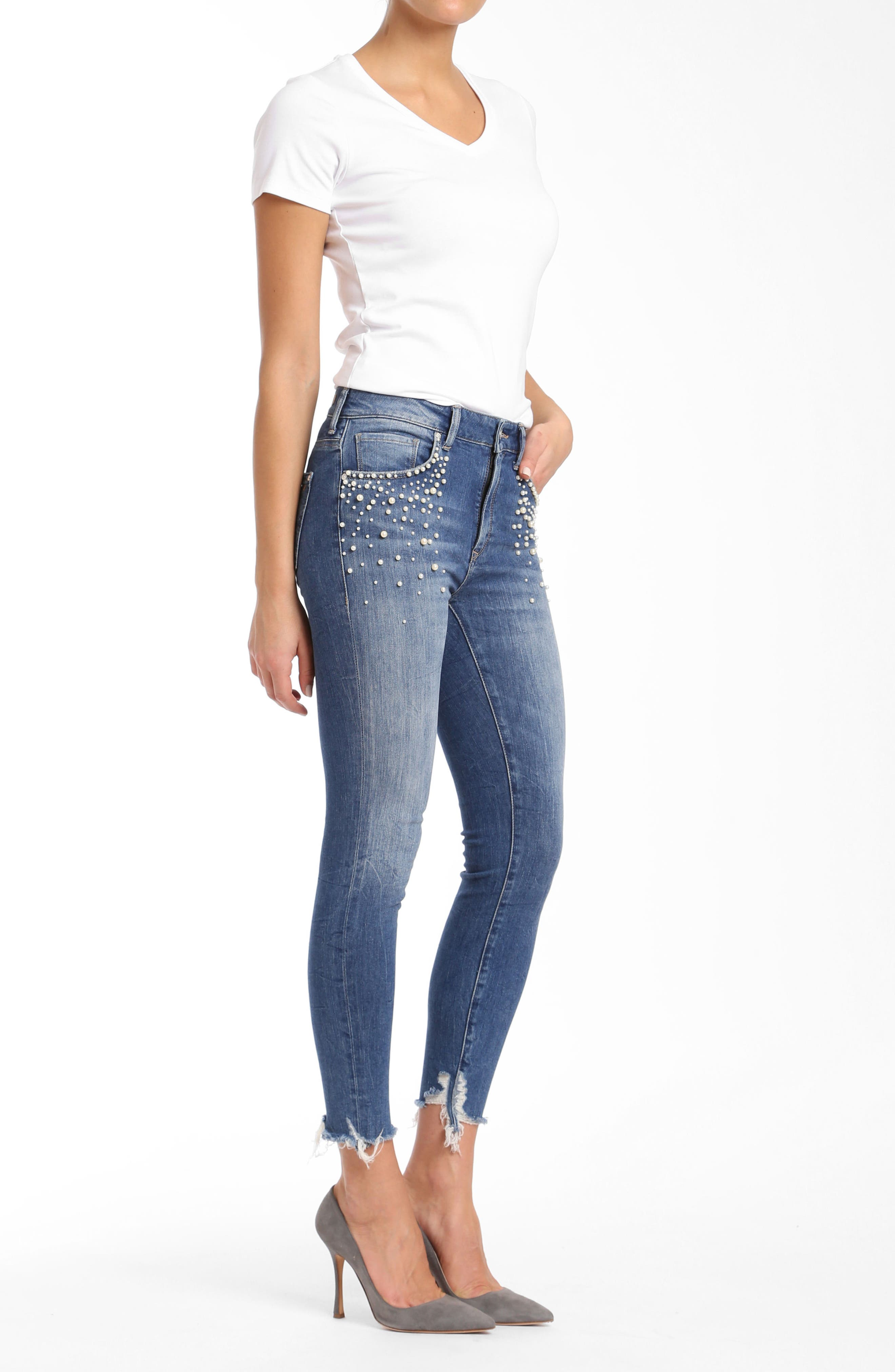 Tess Faux Pearl Skinny Jeans,                             Alternate thumbnail 4, color,                             Indigo Pearl