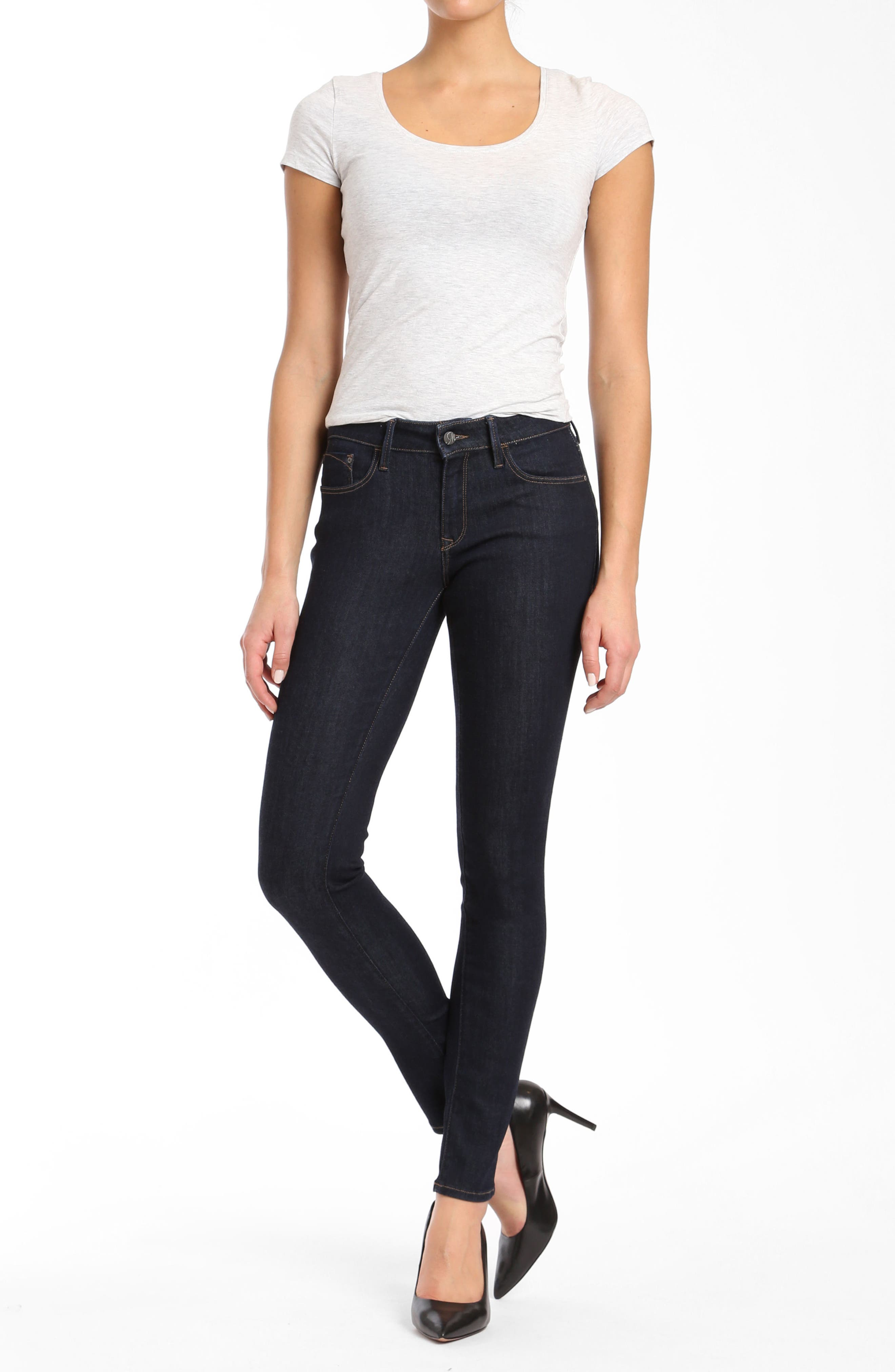 Alternate Image 4  - Mavi Alexa Supersoft Skinny Jeans (Dark Rinse)