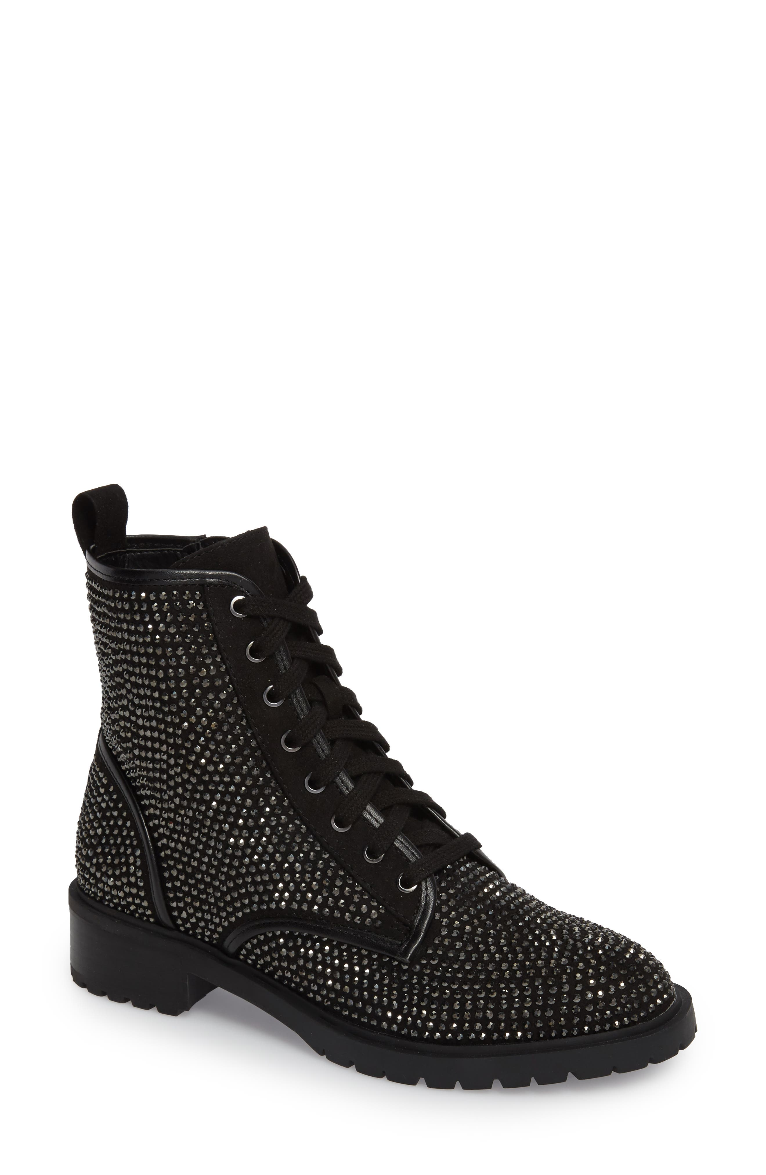 Ozzy Embellished Boot,                         Main,                         color, Black Multi Suede