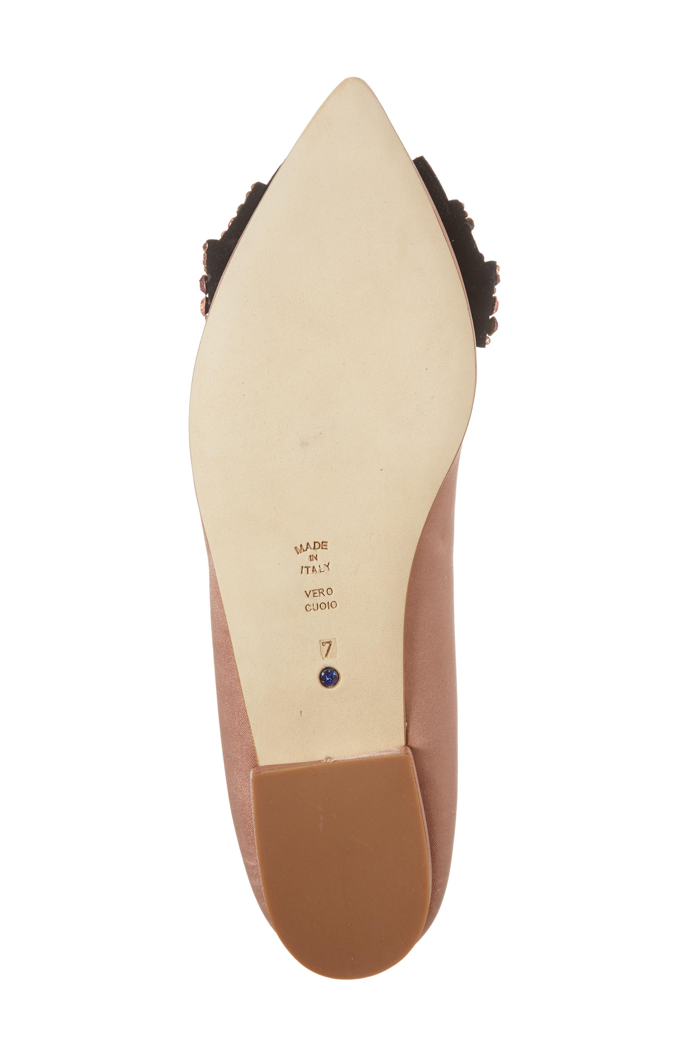Milva Embellished Bow Pointy Toe Flat,                             Alternate thumbnail 6, color,                             Blush Satin