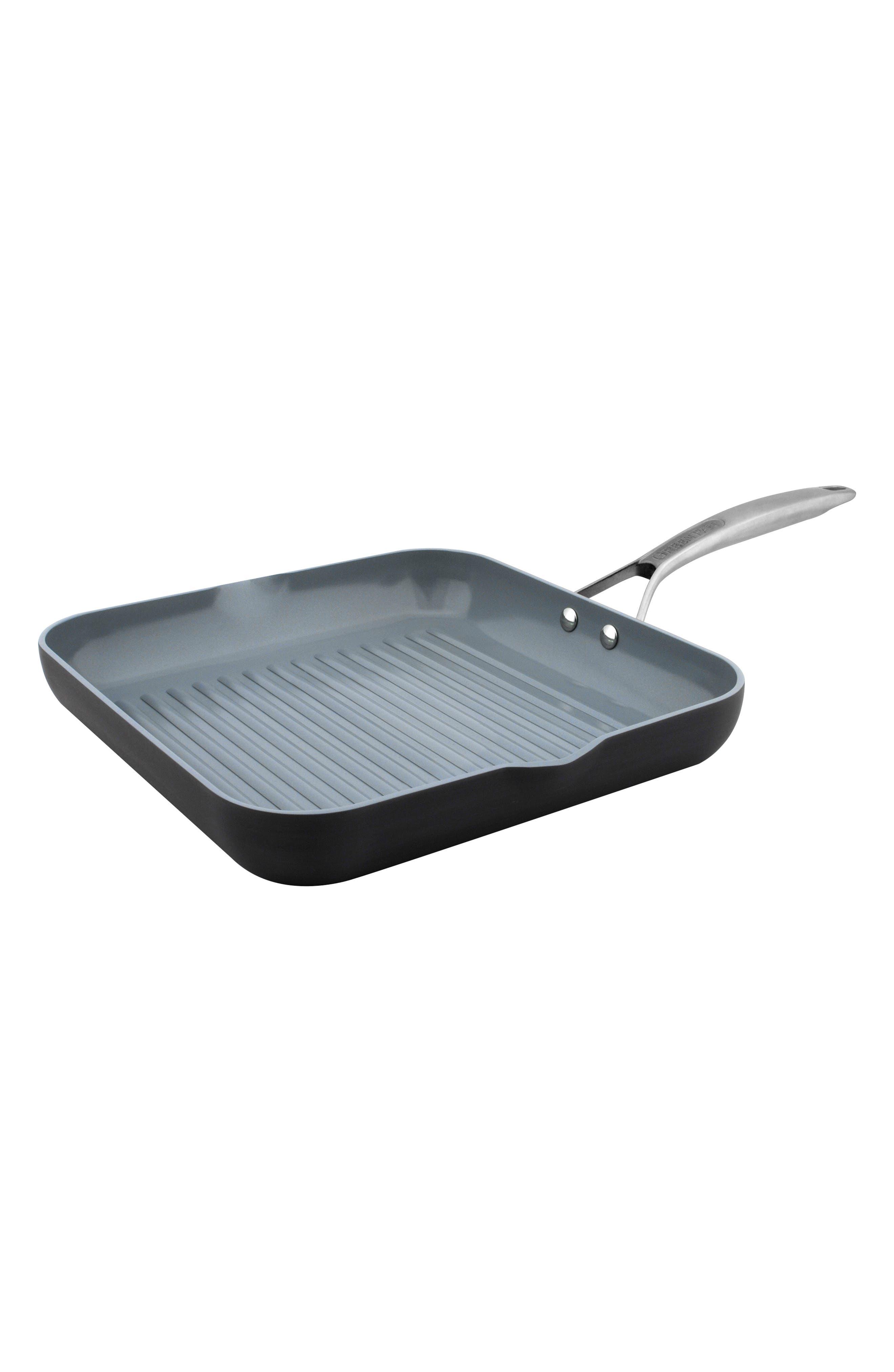 Paris 11-Inch Anodized Aluminum Ceramic Nonstick Grill Pan,                             Main thumbnail 1, color,                             Grey