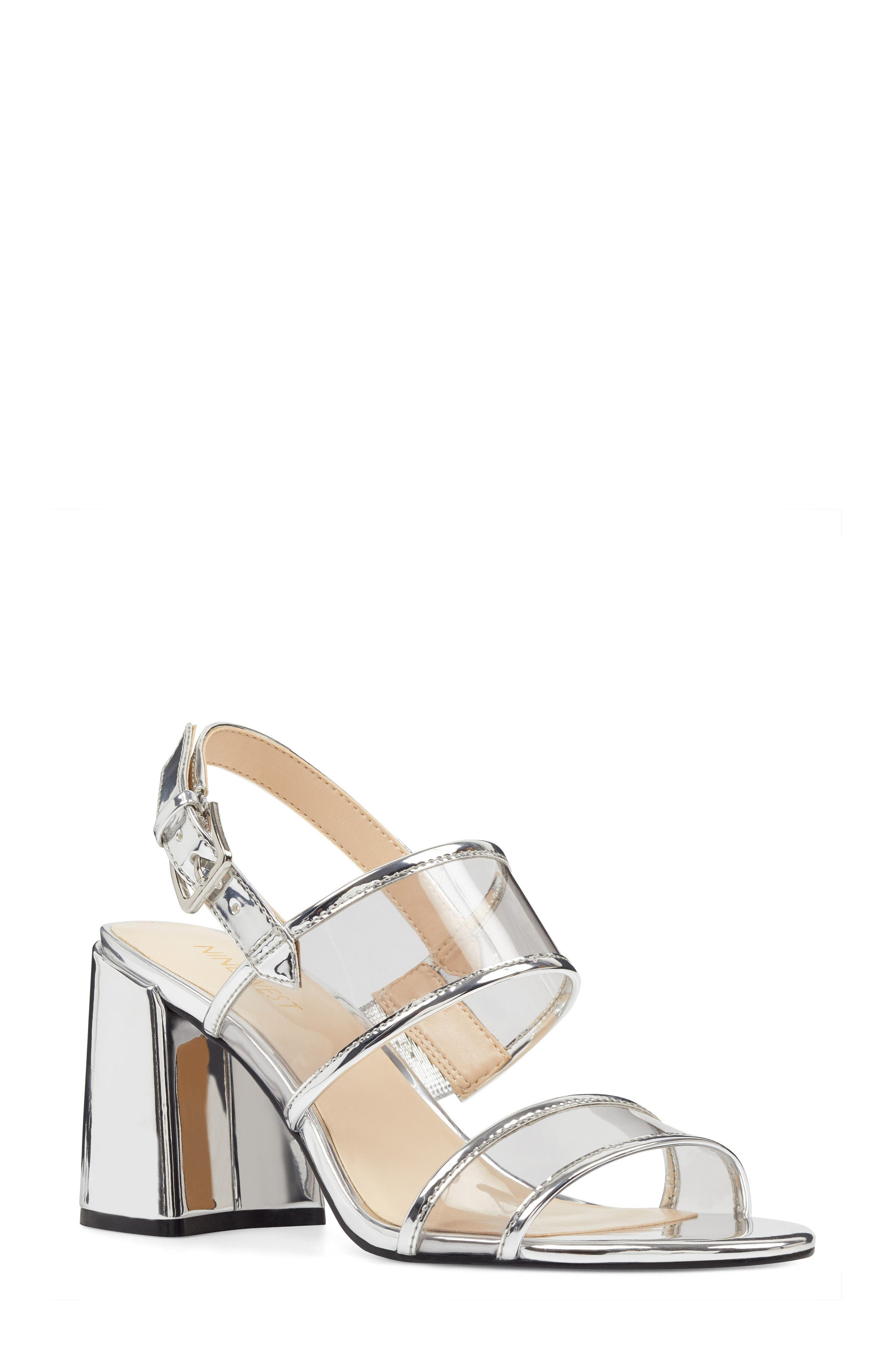 Gourdes Block Heel Sandal,                             Main thumbnail 1, color,                             Clear Grey Multi Faux Leather