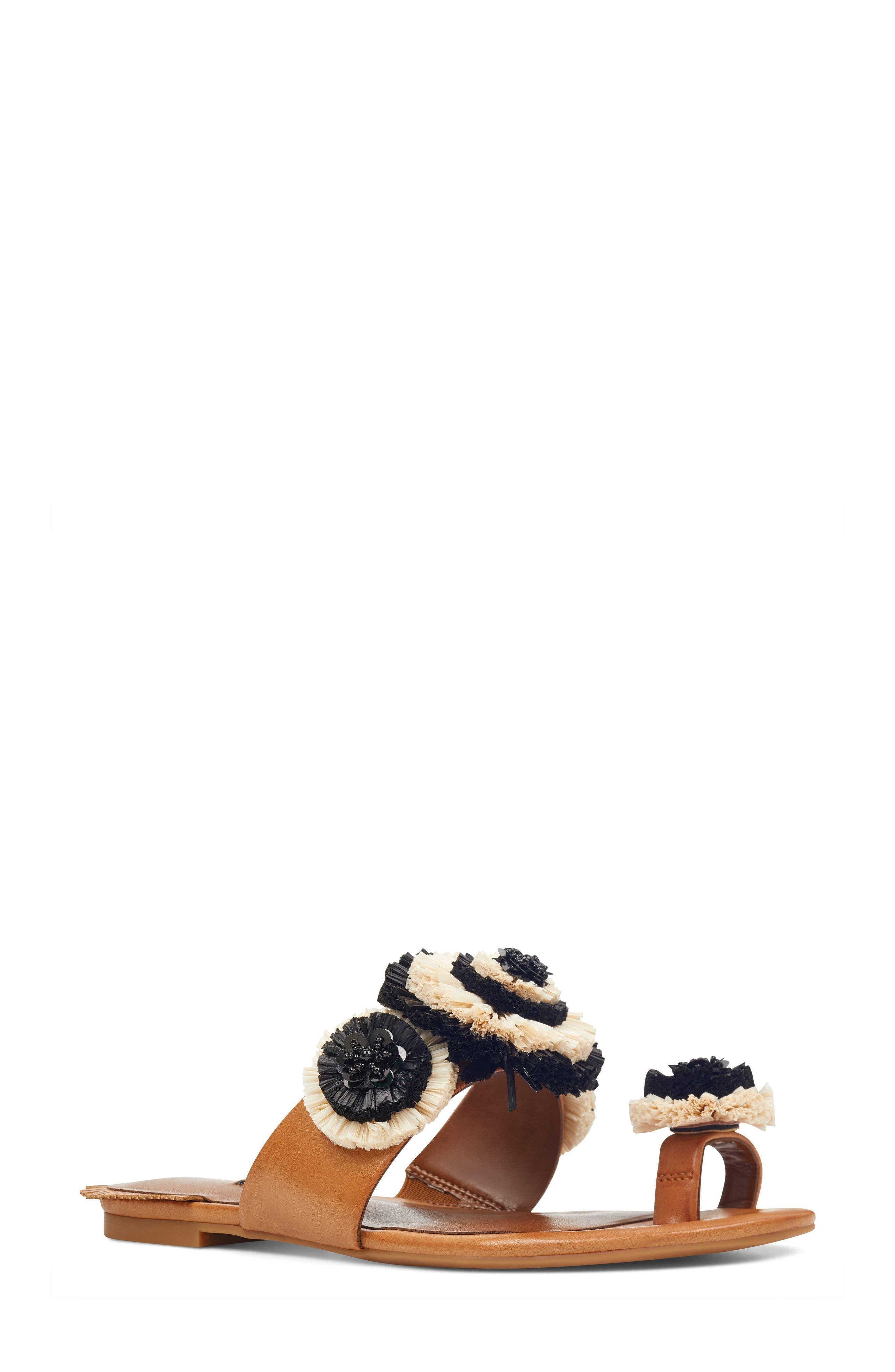 Sendran Raffia Flower Sandal,                         Main,                         color, Dark Natural Faux Leather